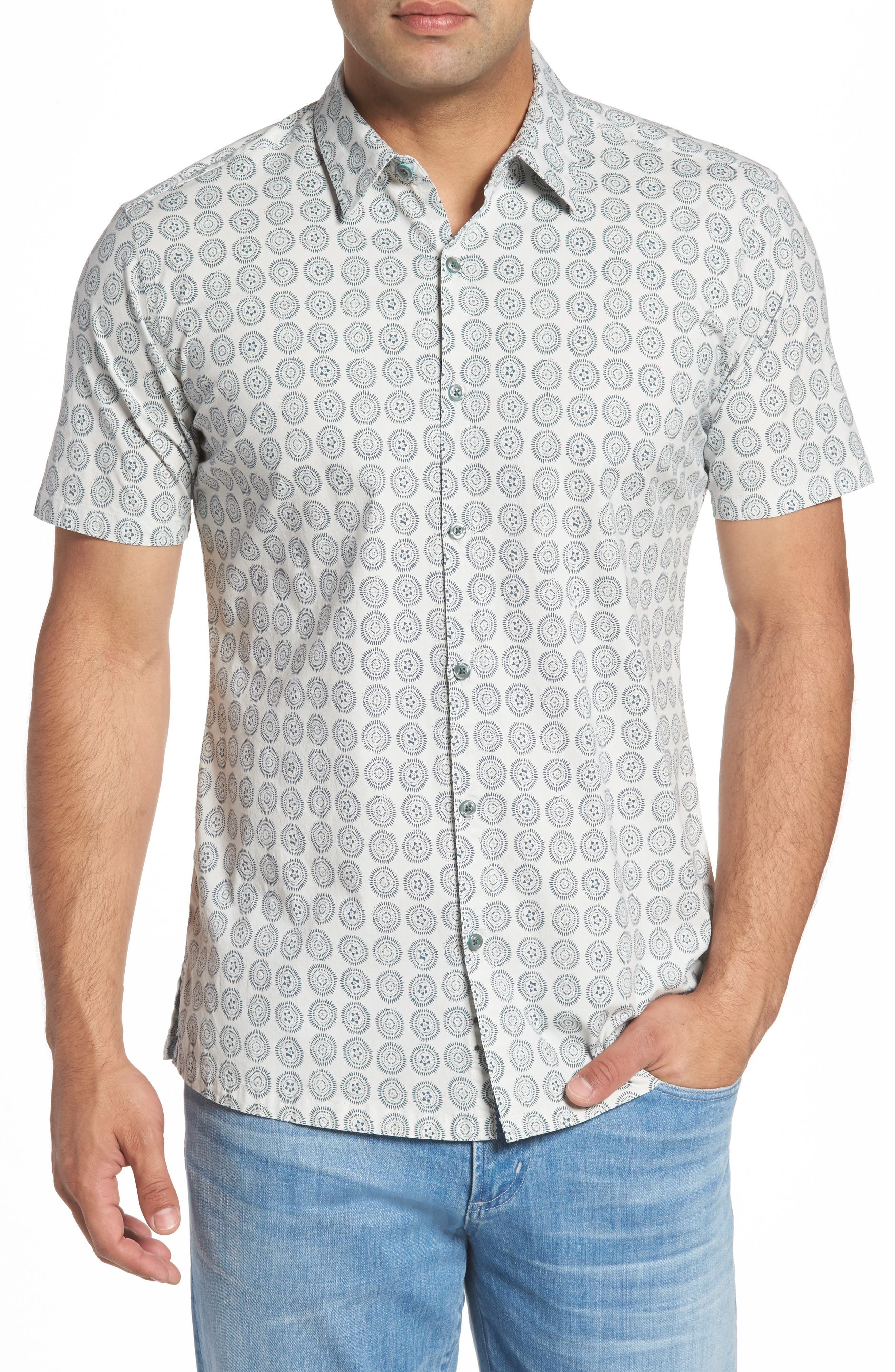 Sea Crest Slim Fit Print Camp Shirt,                         Main,                         color, Light Grey