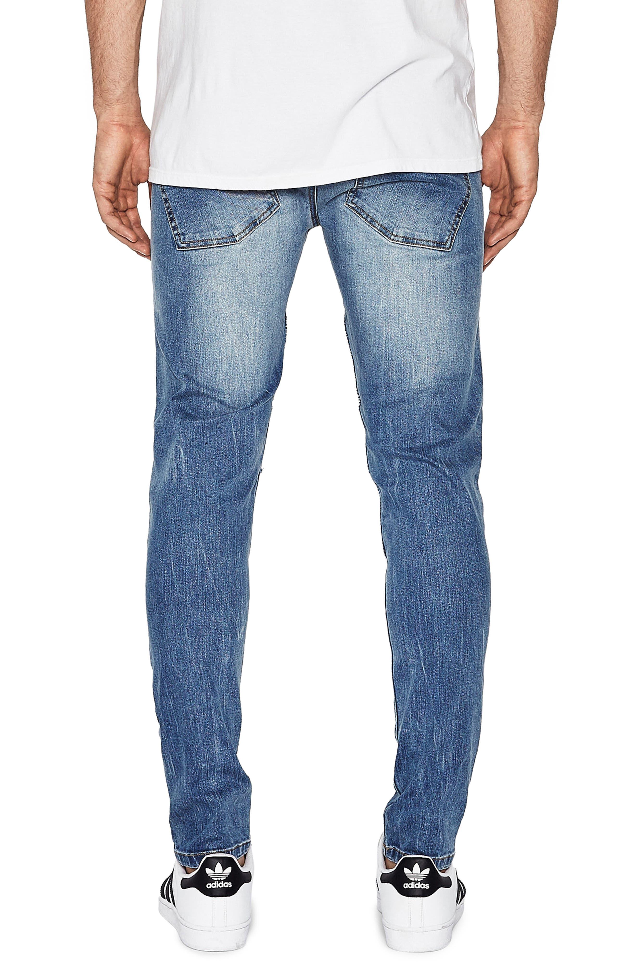 Alternate Image 2  - NXP Combination Moto Skinny Moto Jeans (Milwaukee Blue)