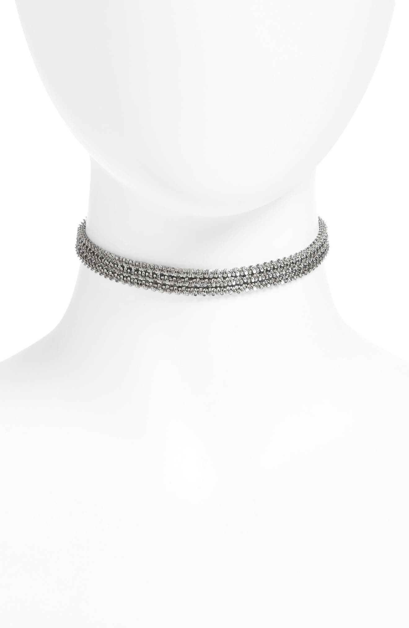 Three-Layer Chain Choker,                             Main thumbnail 1, color,                             Rhodium
