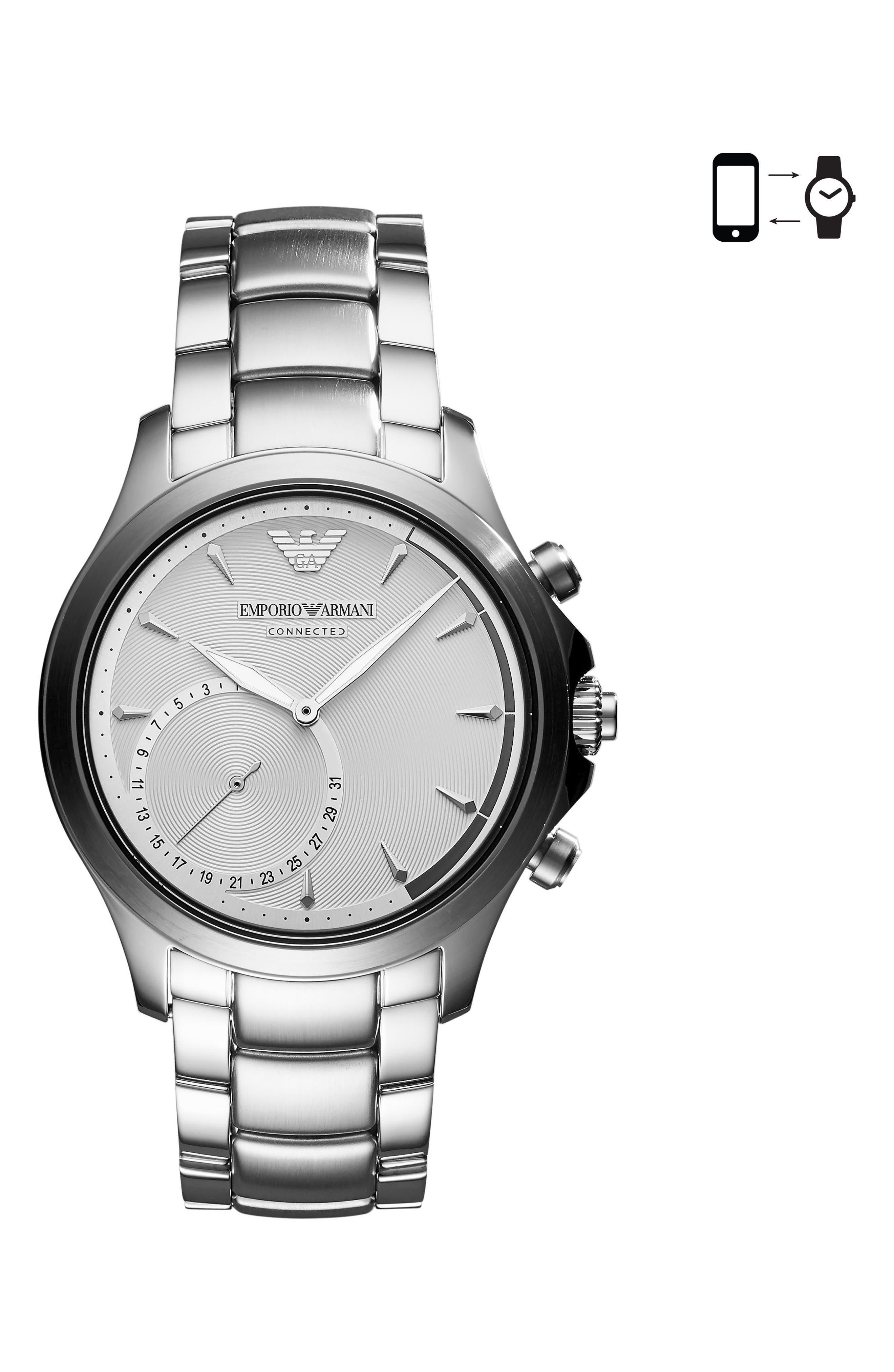 Alternate Image 1 Selected - Emporio Armani Bracelet Hybrid Smartwatch, 43mm