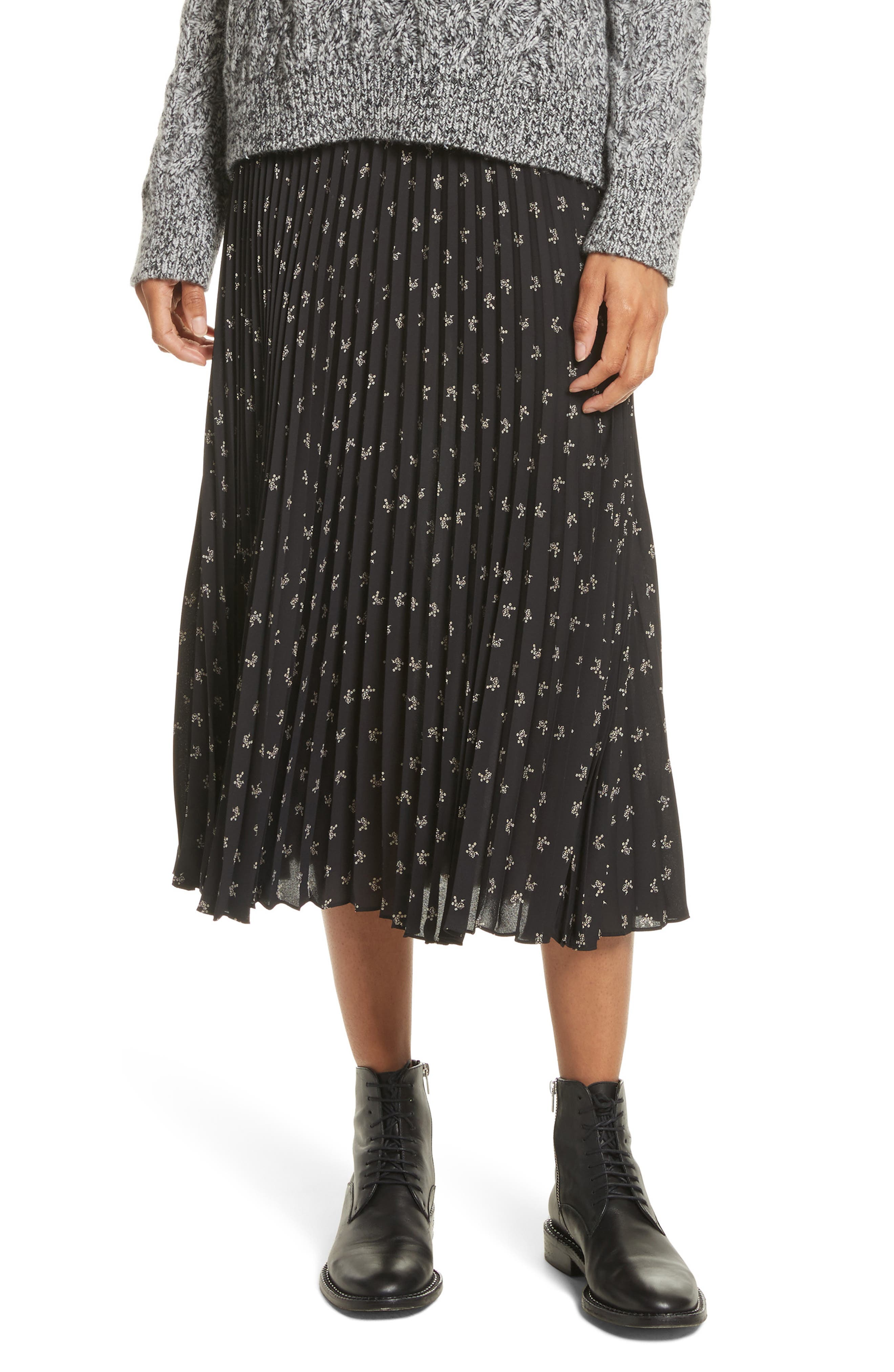 Tossed Ditsy Floral Pleated Skirt,                         Main,                         color, Black/ Linen