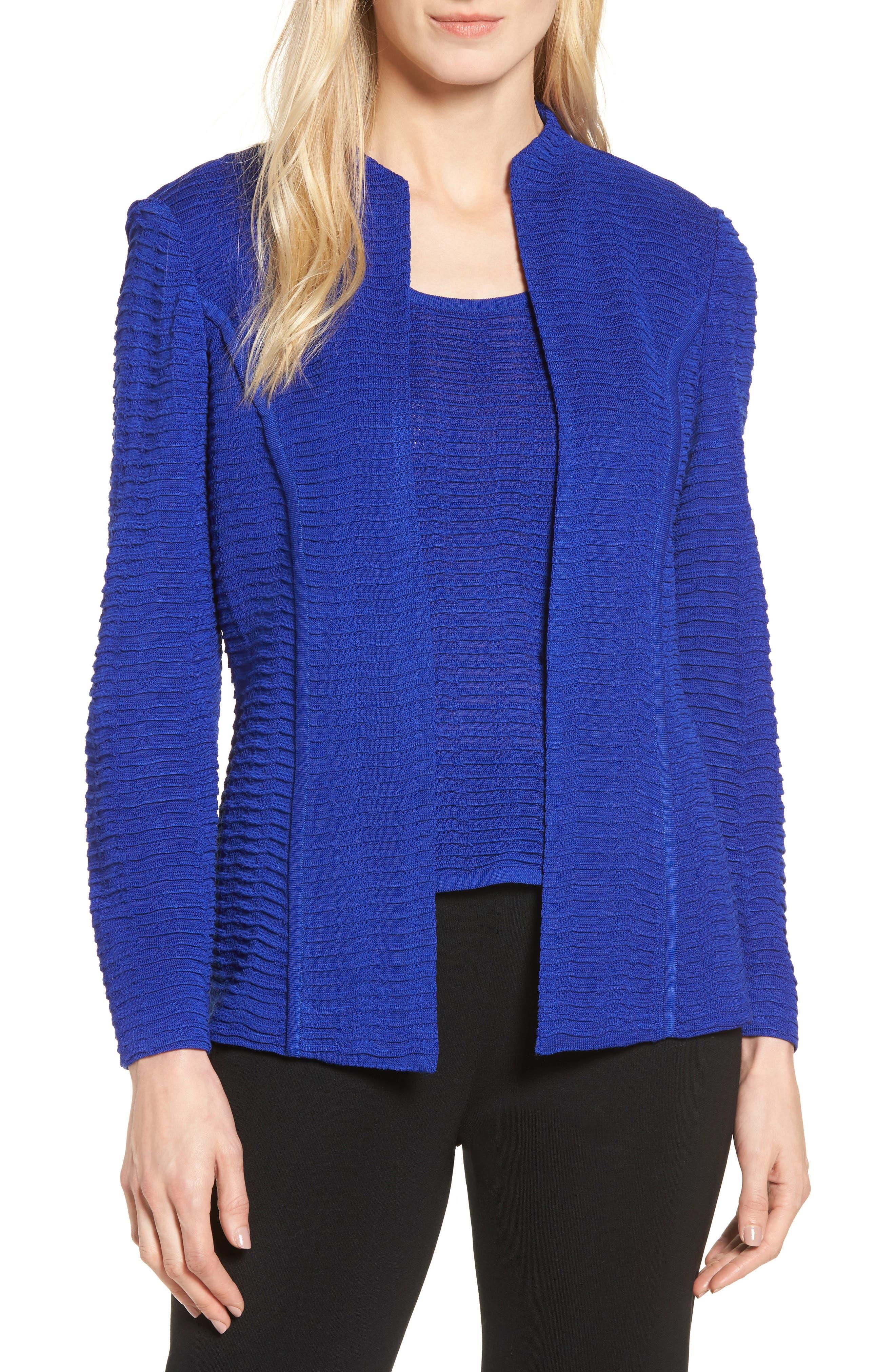 Ripple Knit Jacket,                             Main thumbnail 1, color,                             Blue Flame