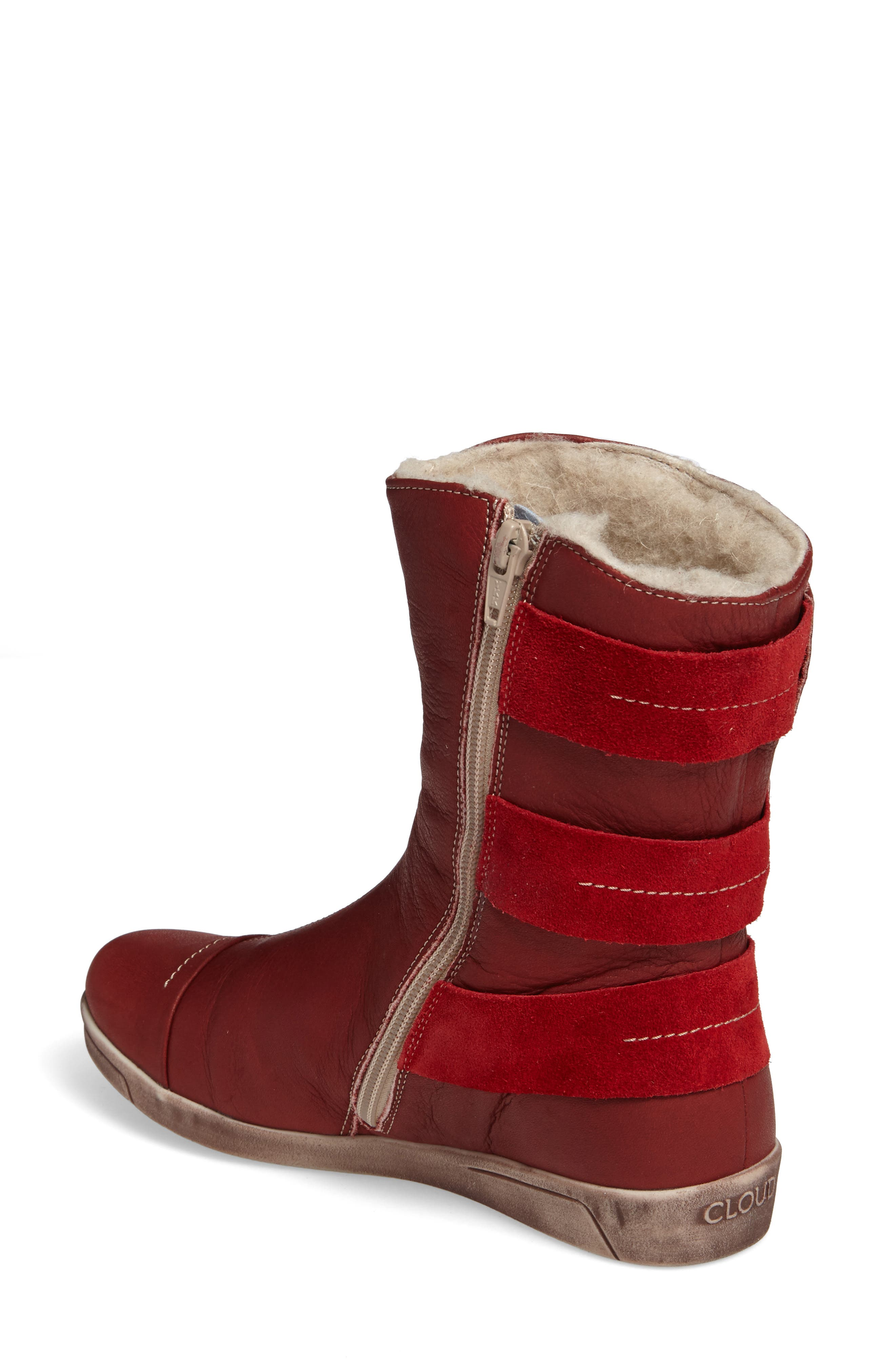 Amber Wool Lined Bootie,                             Alternate thumbnail 2, color,                             Red Leather