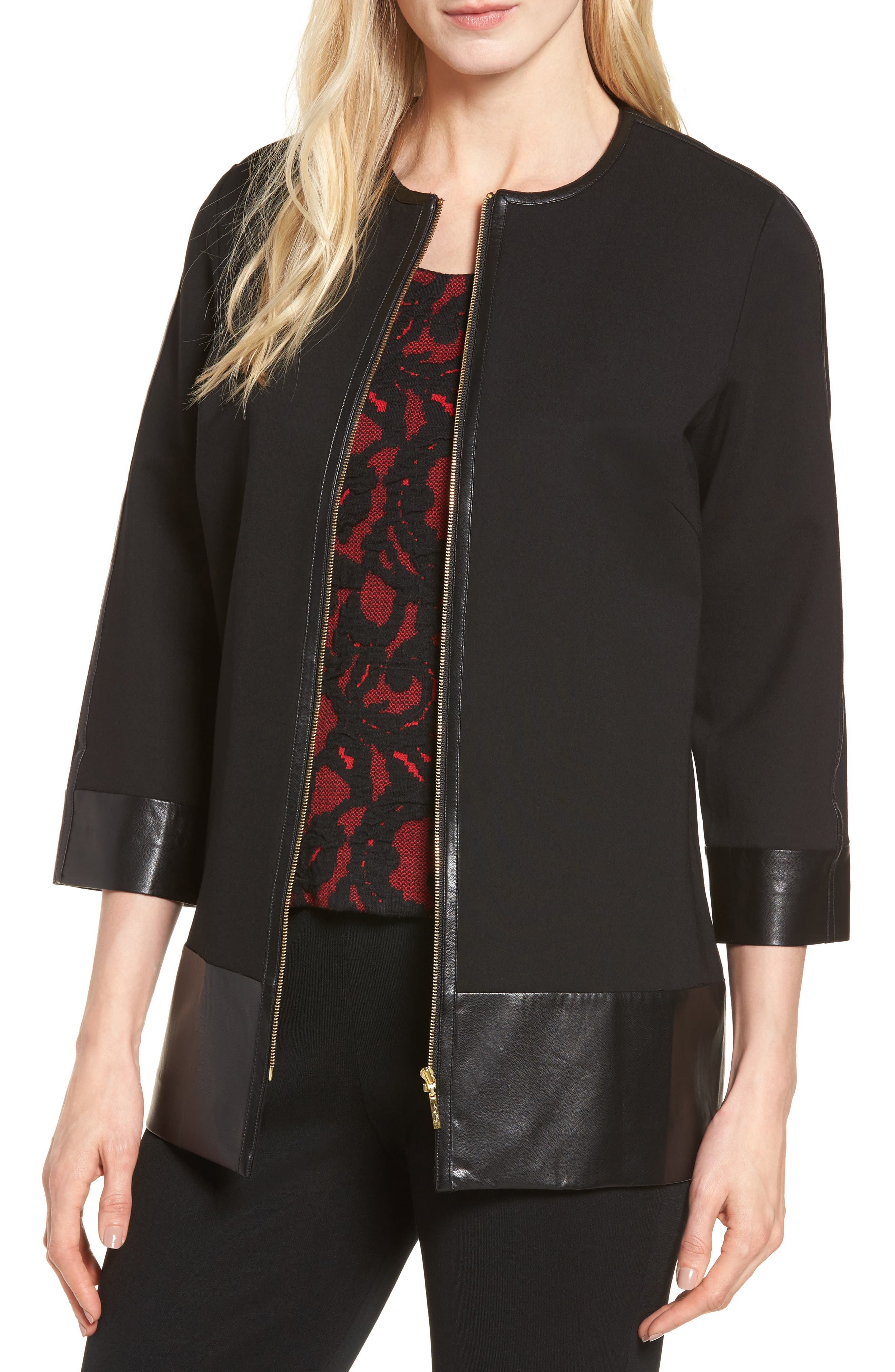 Ming Wang Faux Leather Trim Zip Jacket