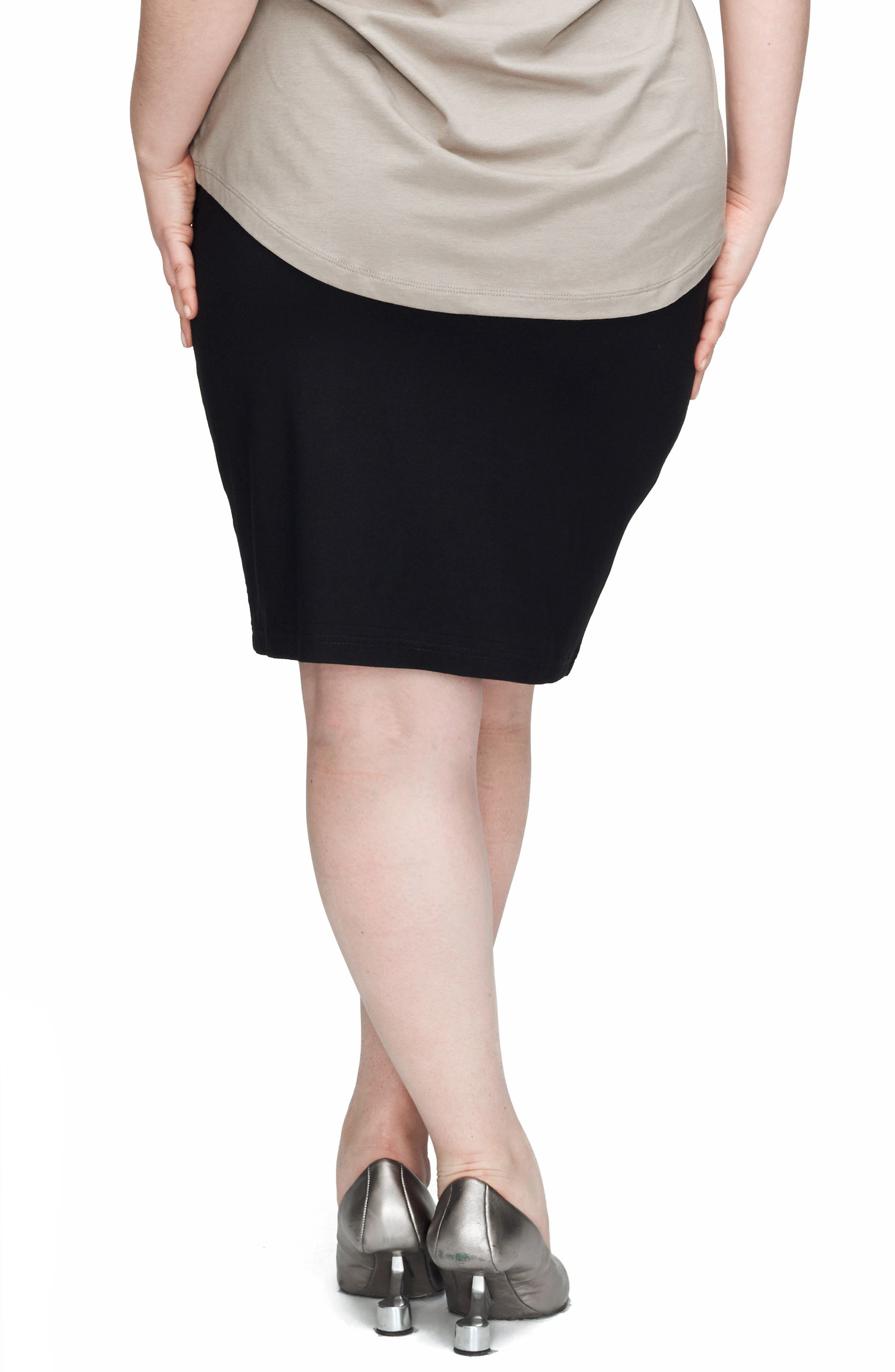 Alternate Image 2  - UNIVERSAL STANDARD Mosman Faux Leather Front Skirt (Plus Size)
