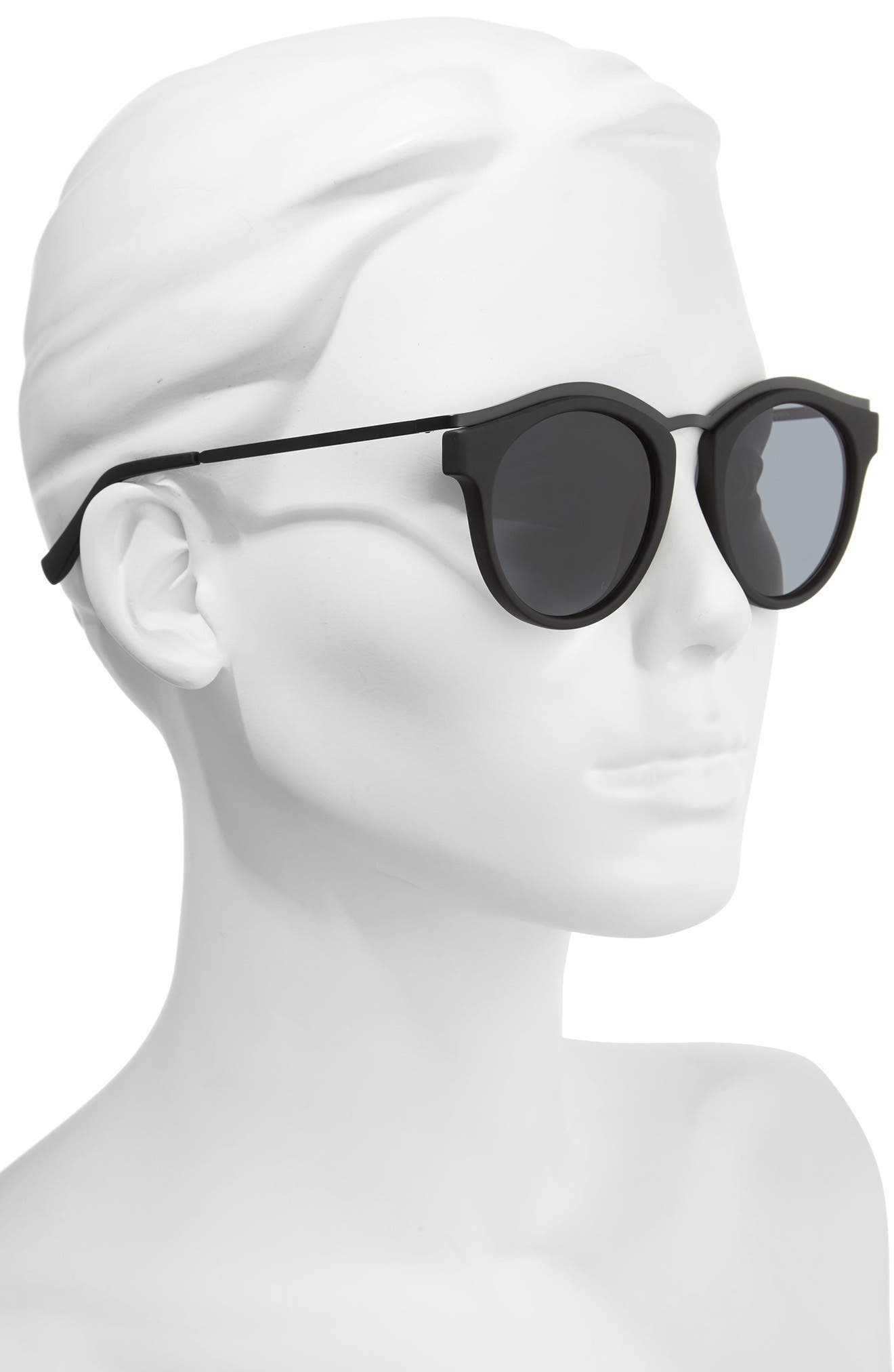 Hypnotize 50mm Round Sunglasses,                             Alternate thumbnail 2, color,                             Black Rubber
