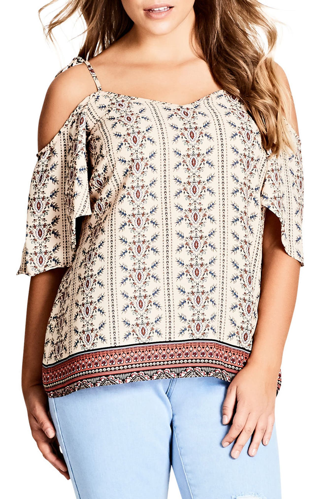 Print Cold Shoulder Top,                         Main,                         color, Paisley Girl