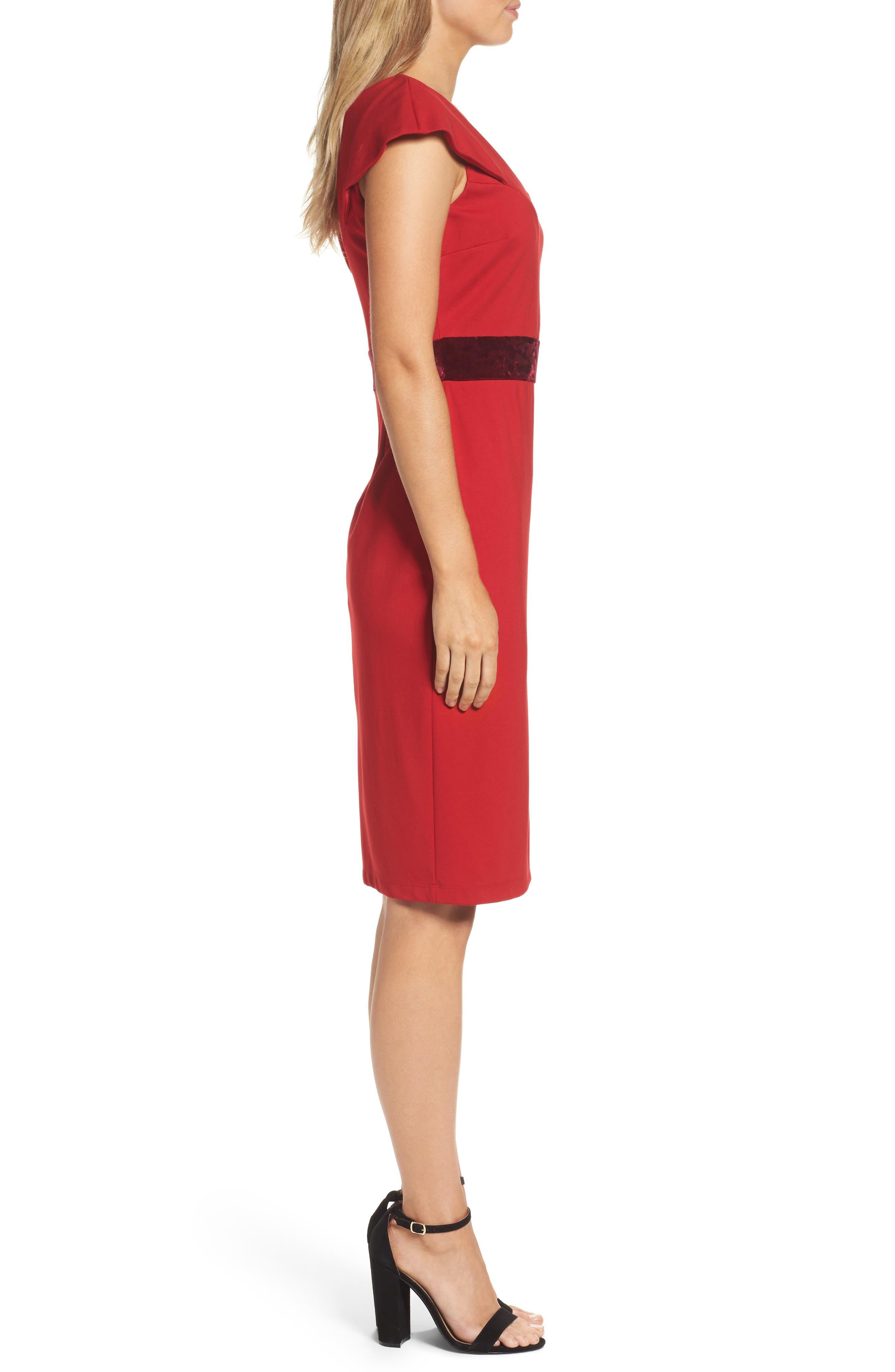 Velvet Trim Crepe Sheath Dress,                             Alternate thumbnail 3, color,                             Scarlet