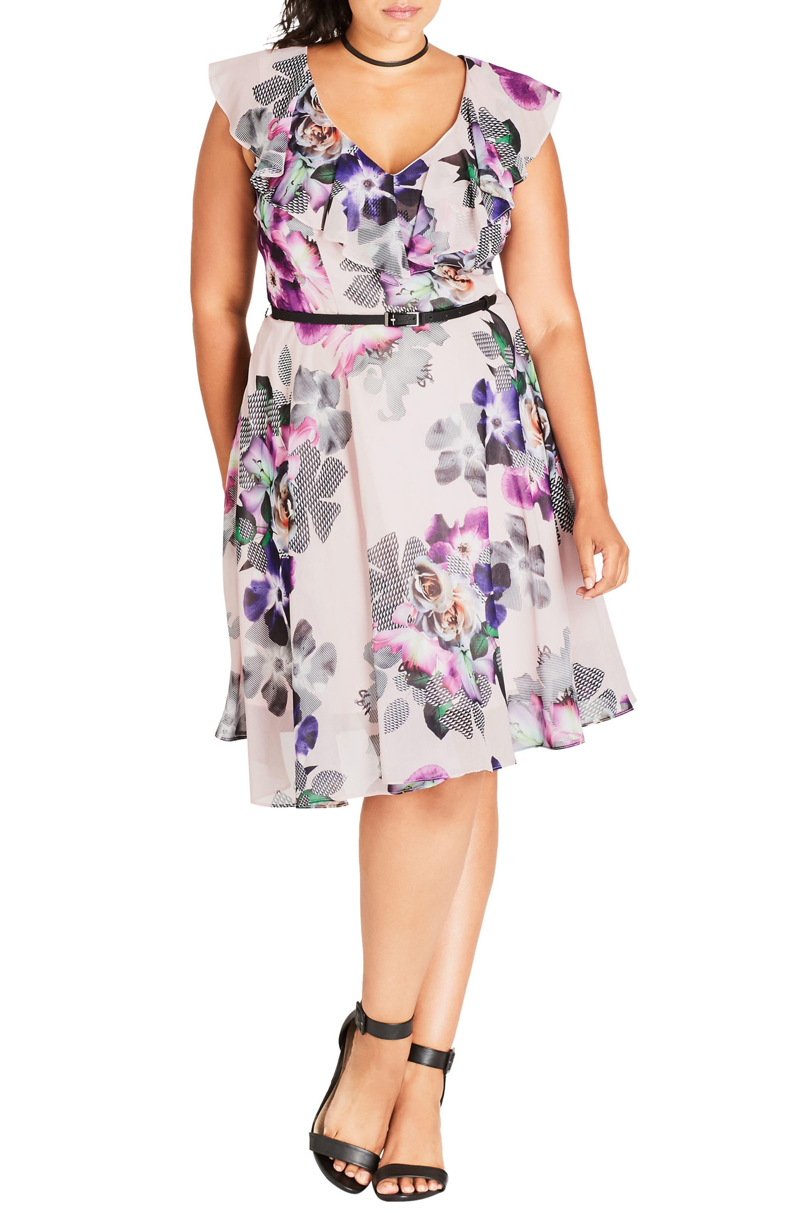 Romance Ruffle Floral Fit & Flare Dress,                         Main,                         color, Passion Floral