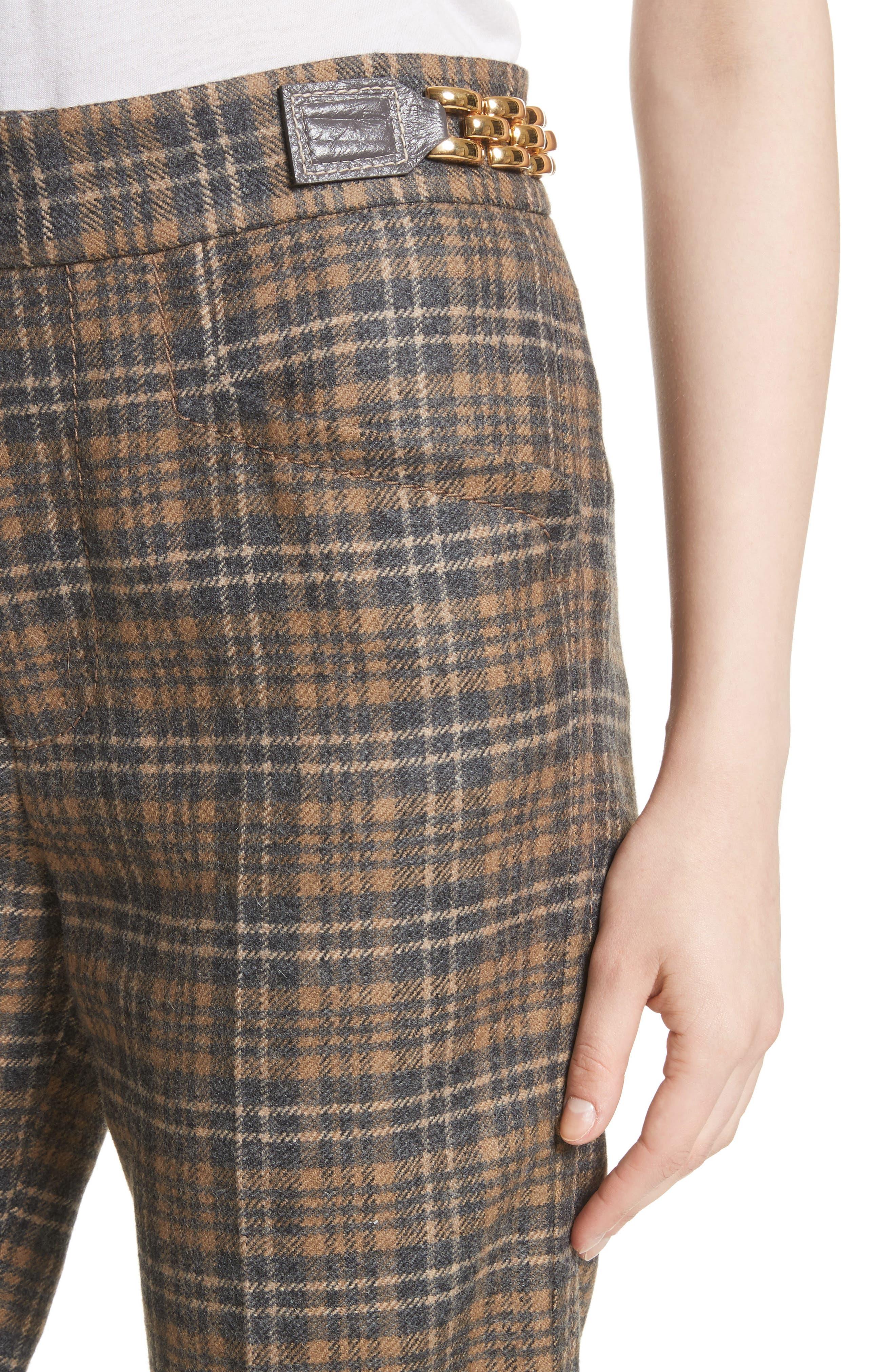 Plaid Wool Blend Wide Leg Pants,                             Alternate thumbnail 4, color,                             Camel Multi