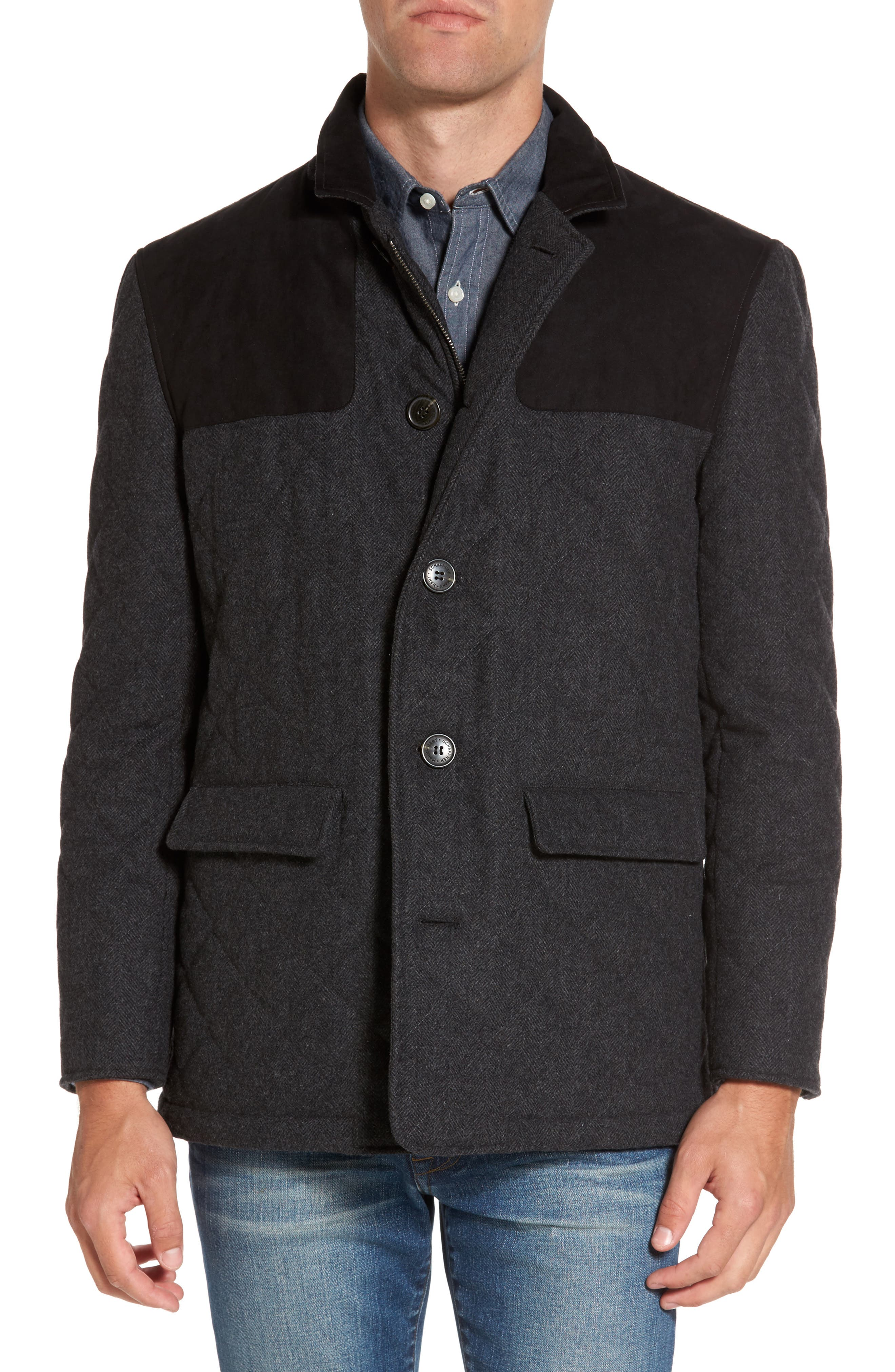 'Shooter' Wool Blend Quilted Jacket,                             Alternate thumbnail 4, color,                             Charcoal