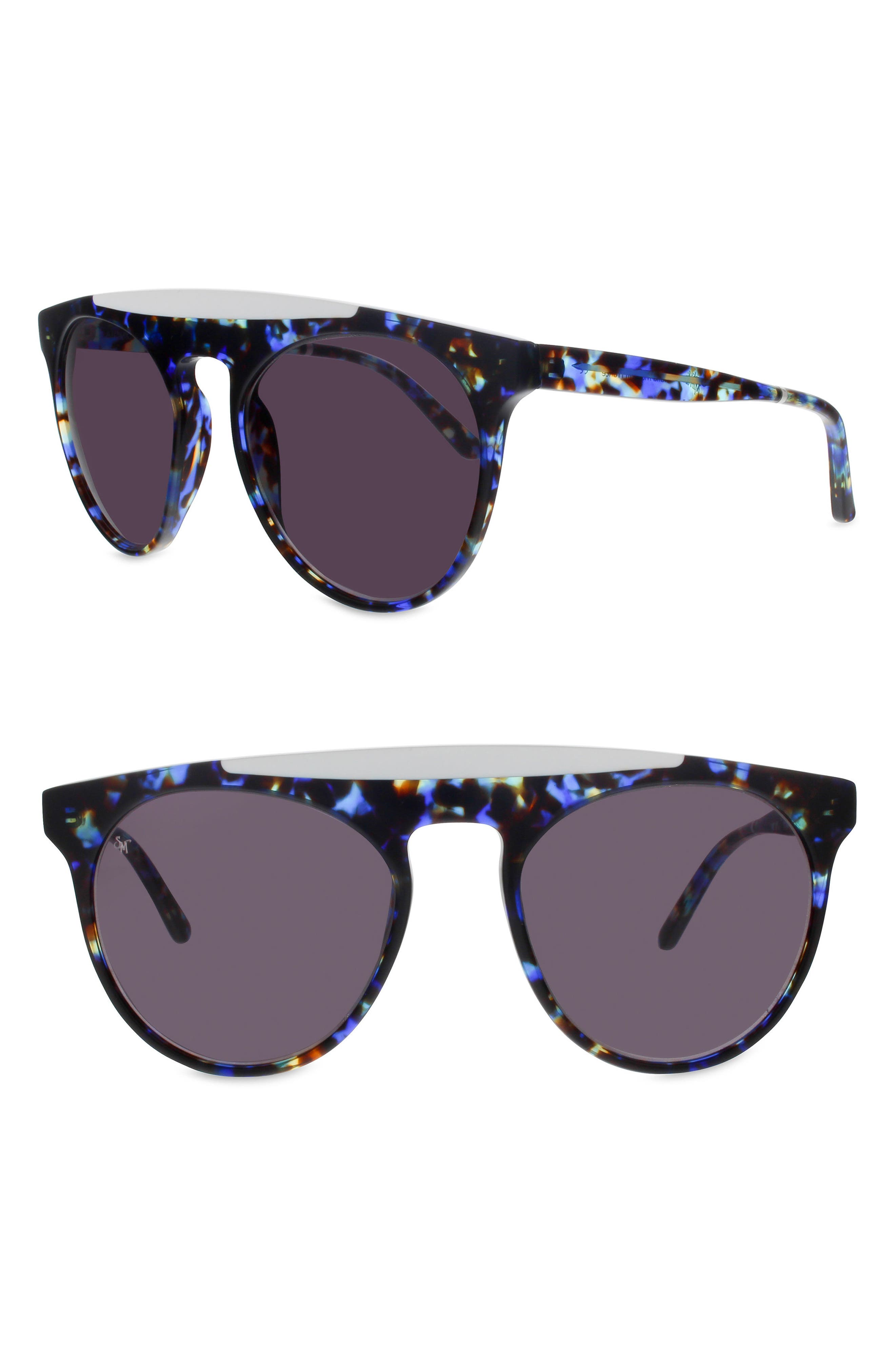 SMOKE X MIRRORS ATOMIC 52MM ROUND SUNGLASSES - BLUE GLAM/ WHITE