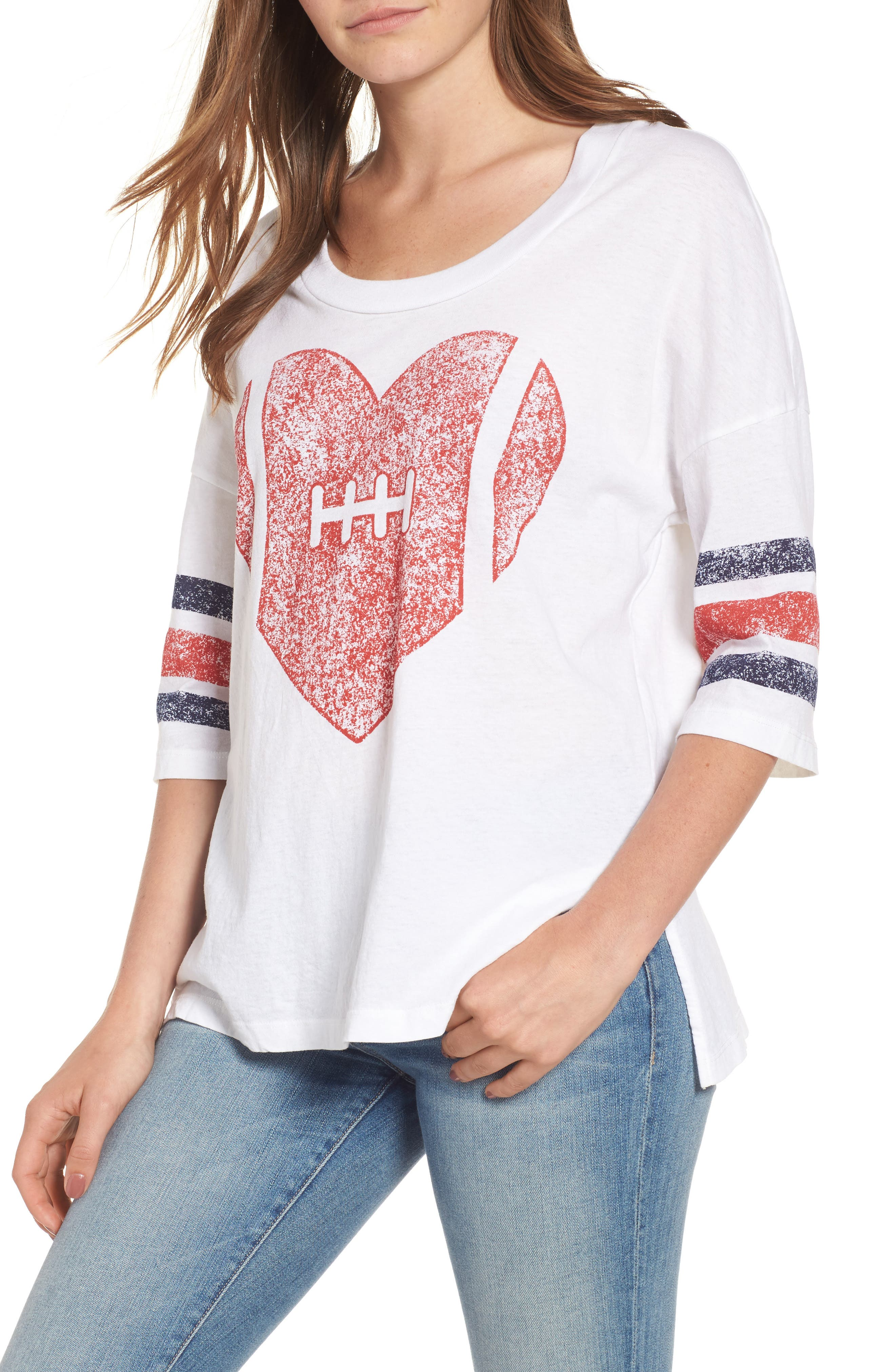 Main Image - Sundry Football Heart Tee (Nordstrom Exclusive)