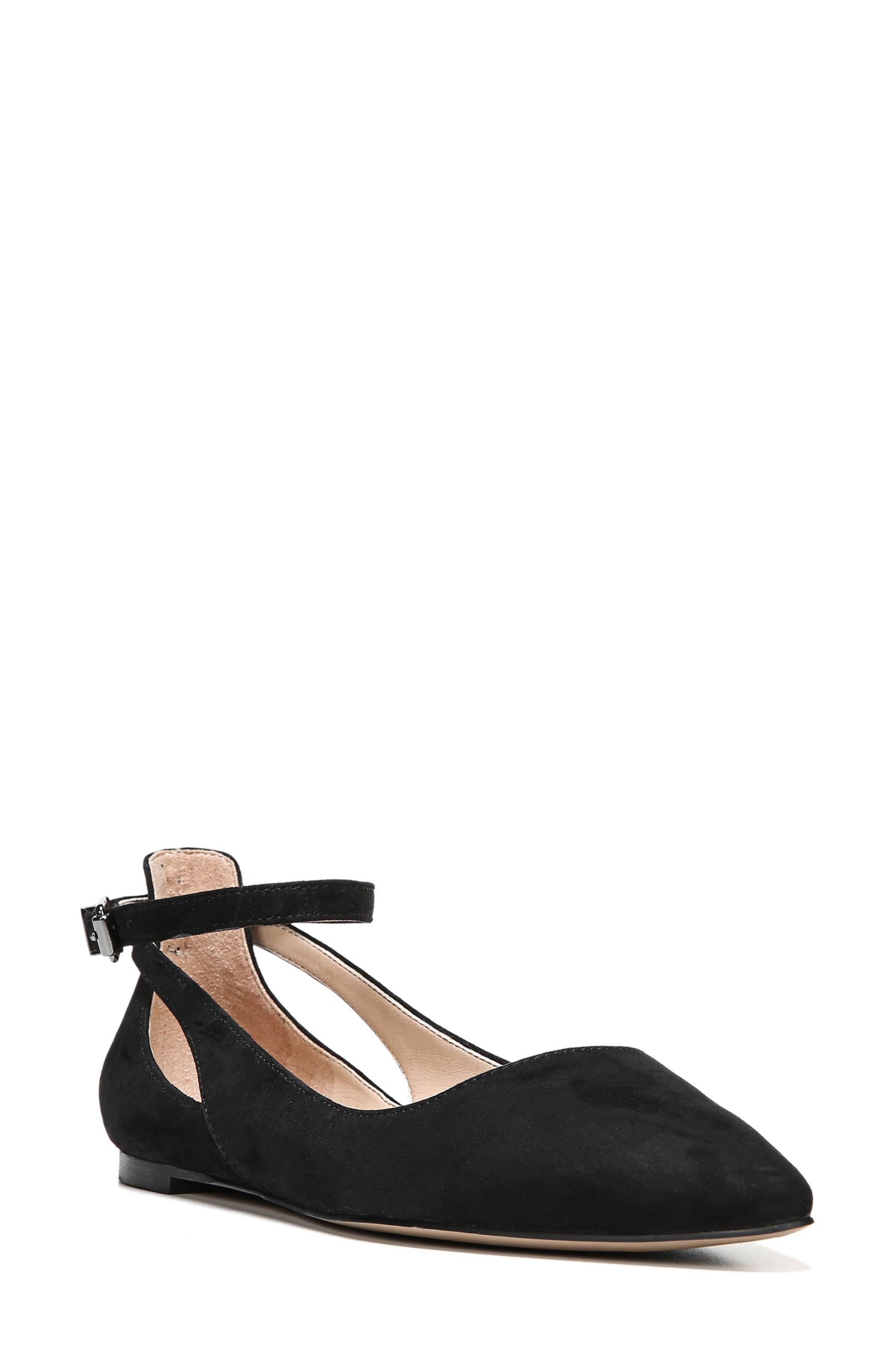 Sylvia Ankle Strap Flat,                             Main thumbnail 1, color,                             Black Suede