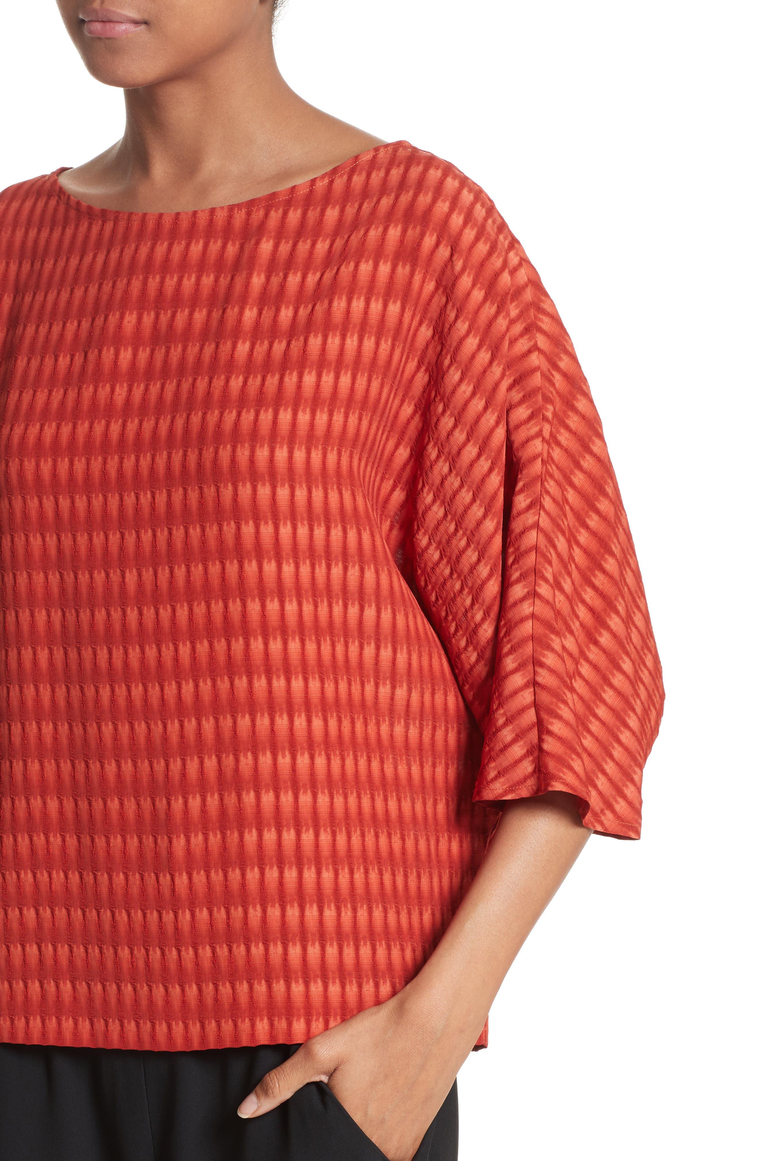 Vero Batik Plaid Top,                             Alternate thumbnail 7, color,                             Saffron Red