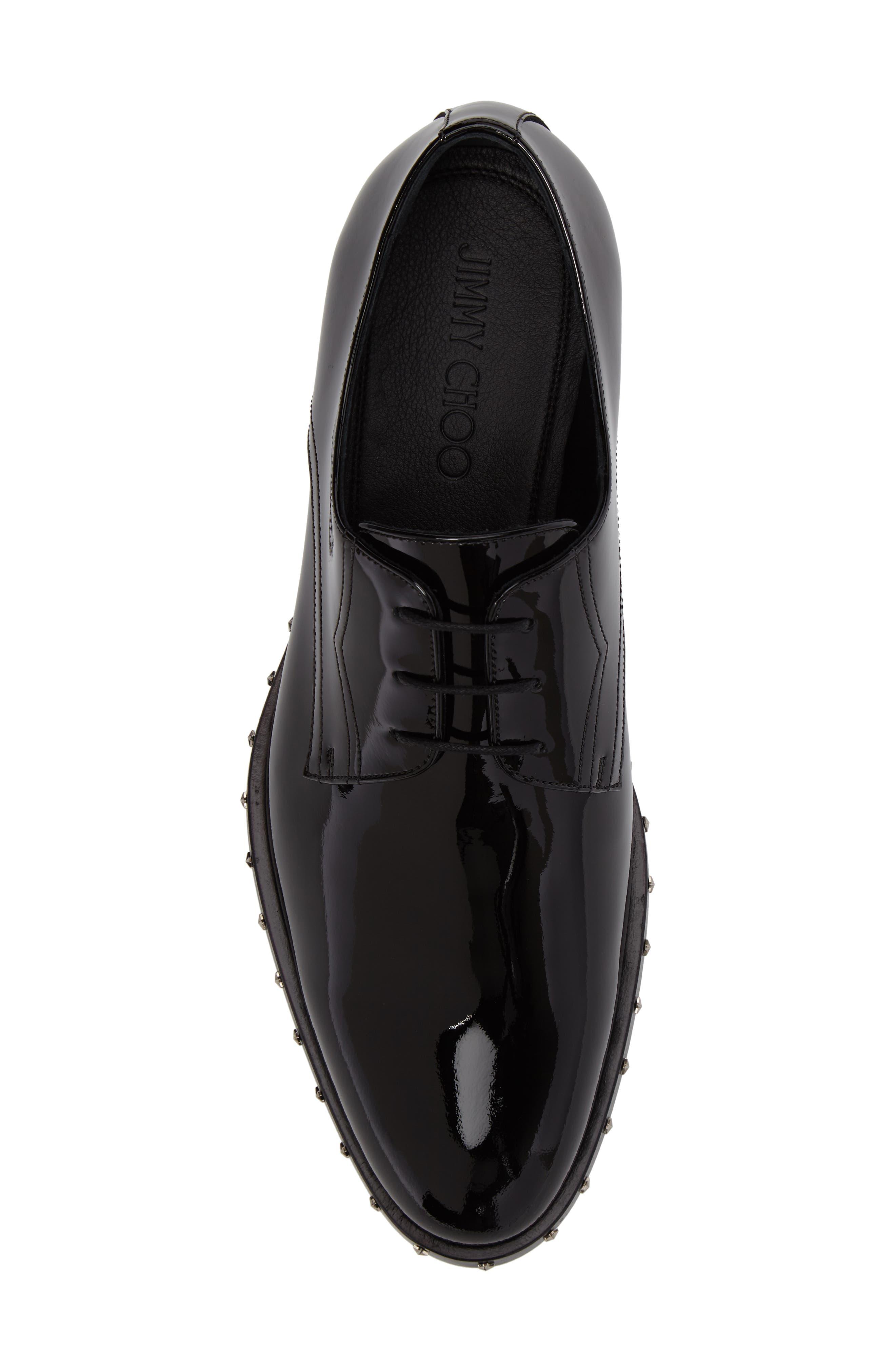 Studded Plain Toe Derby,                             Alternate thumbnail 5, color,                             Black Patent Leather