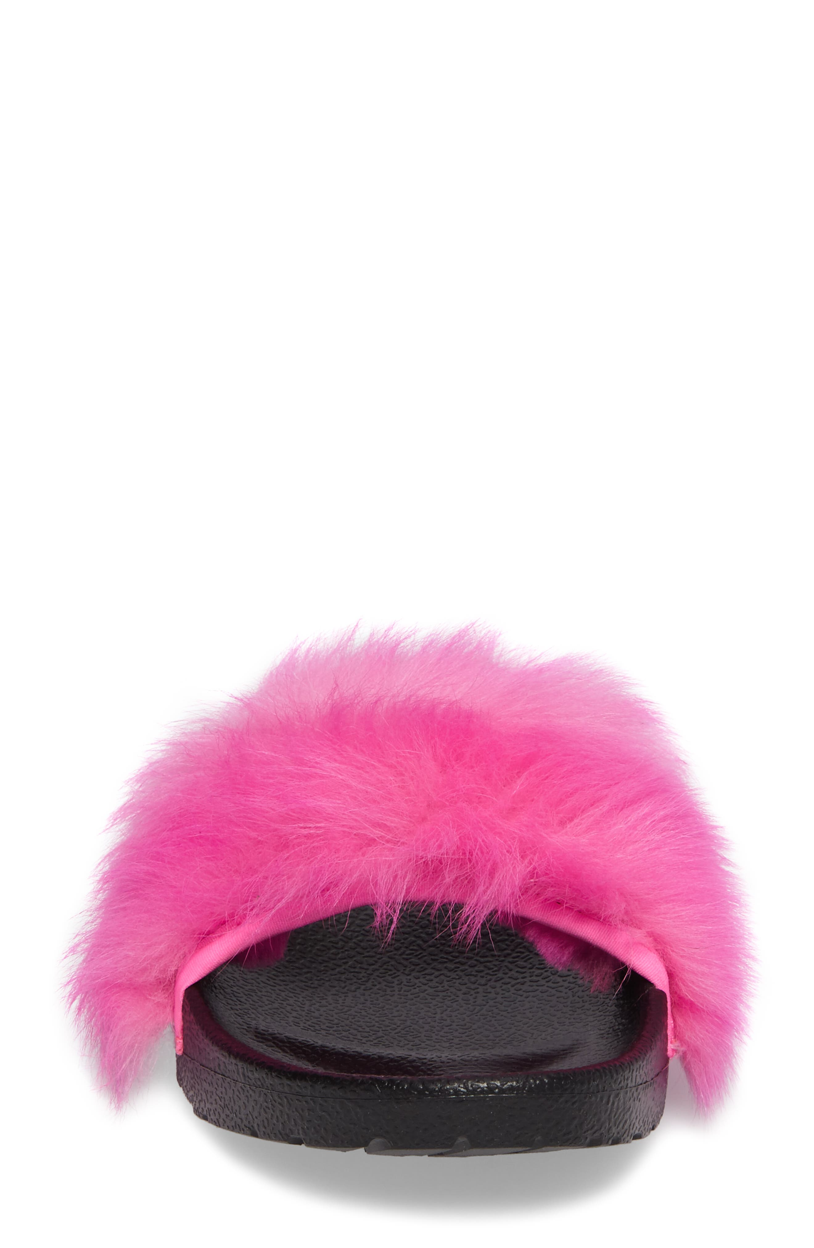 Royale Genuine Shearling Slide Sandal,                             Alternate thumbnail 5, color,                             Neon Pink