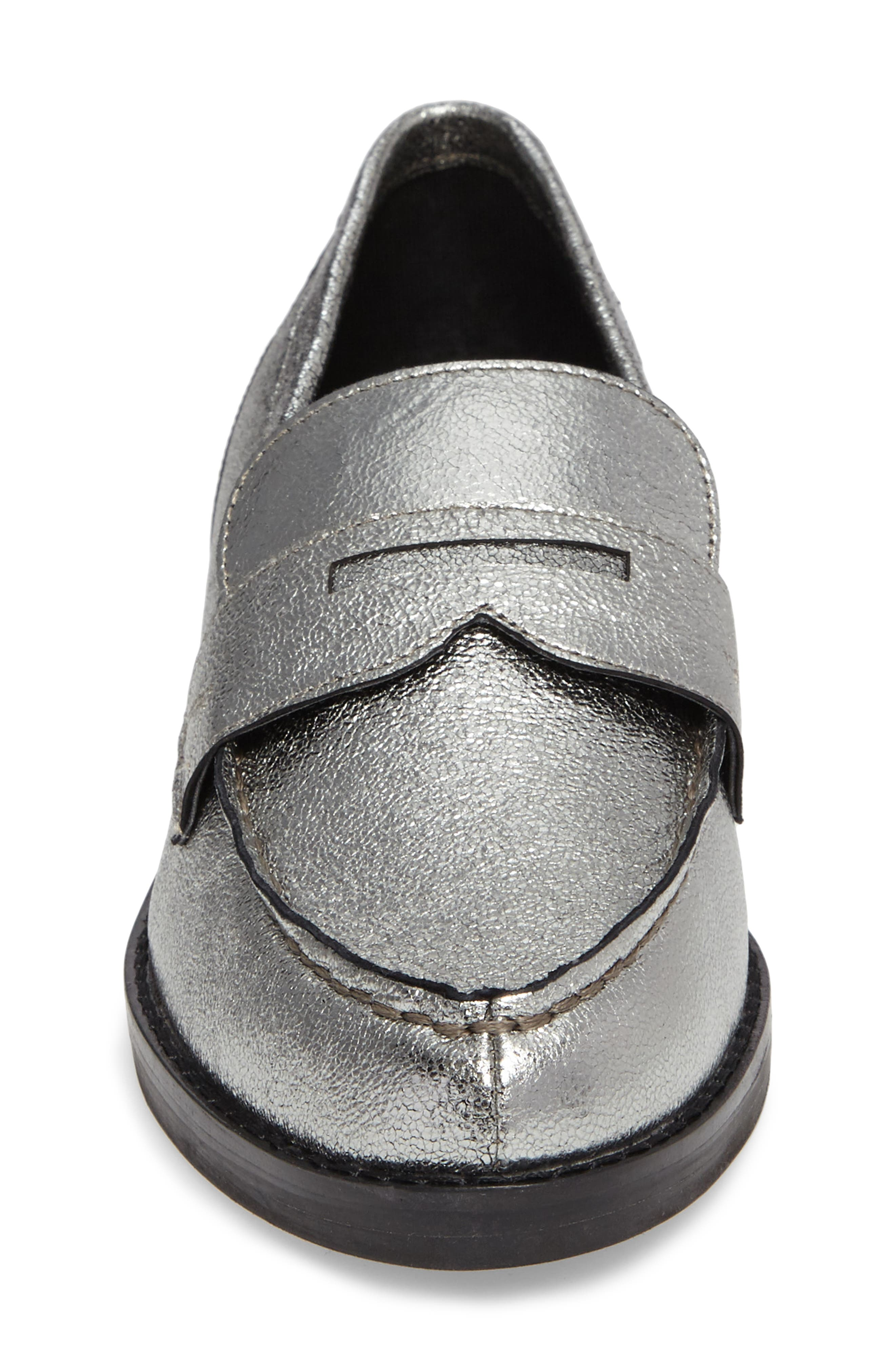 Vero Penny Loafer,                             Alternate thumbnail 4, color,                             Pewter Leather
