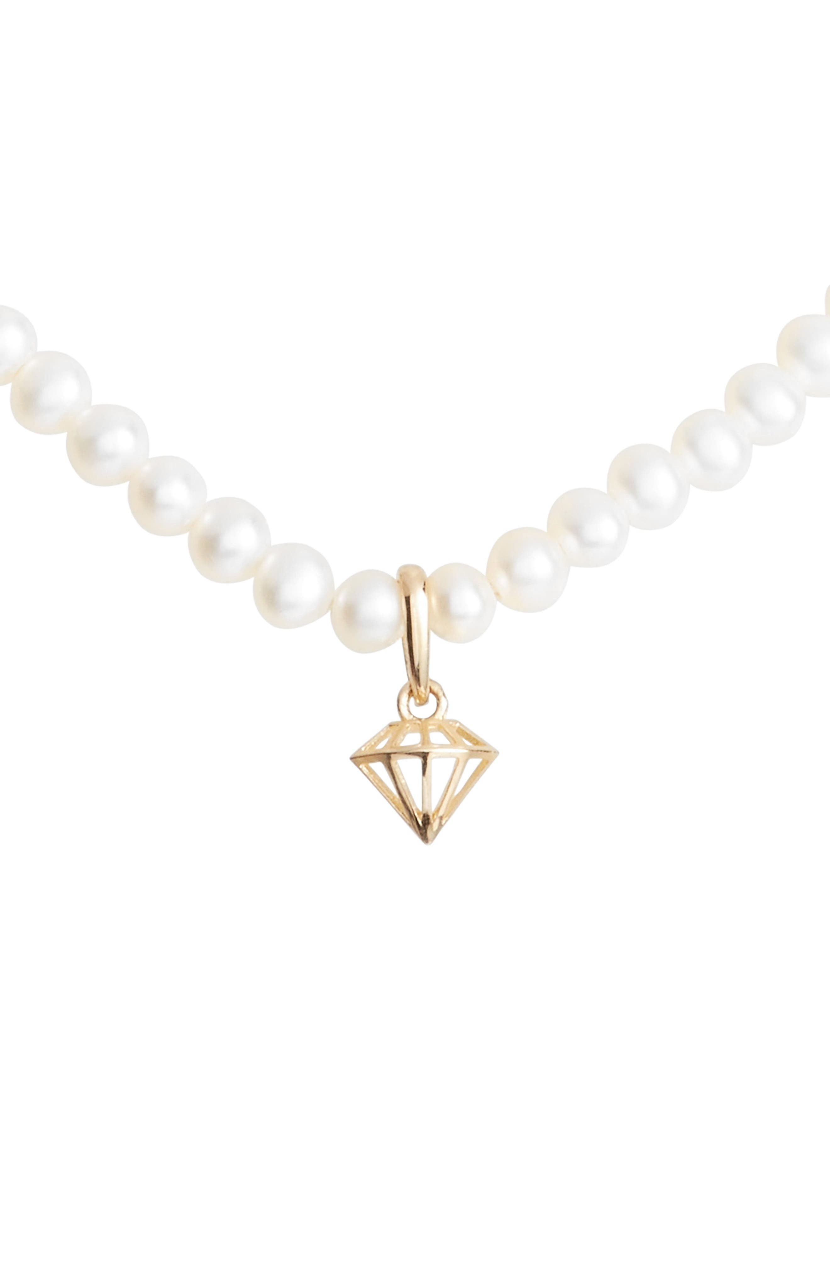Diamond Charm Pearl Necklace,                         Main,                         color, Yellow Gold/ White Pearl