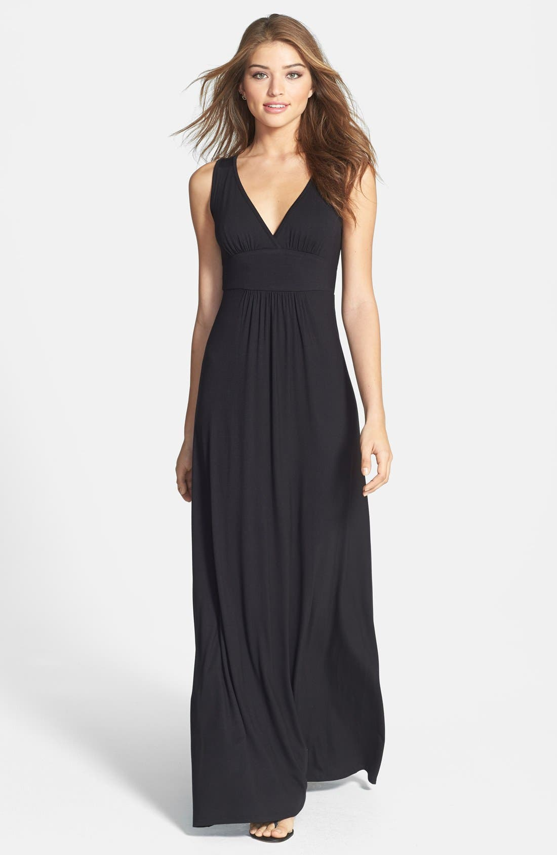 Loveappella V-Neck Jersey Maxi Dress (Regular & Petite)
