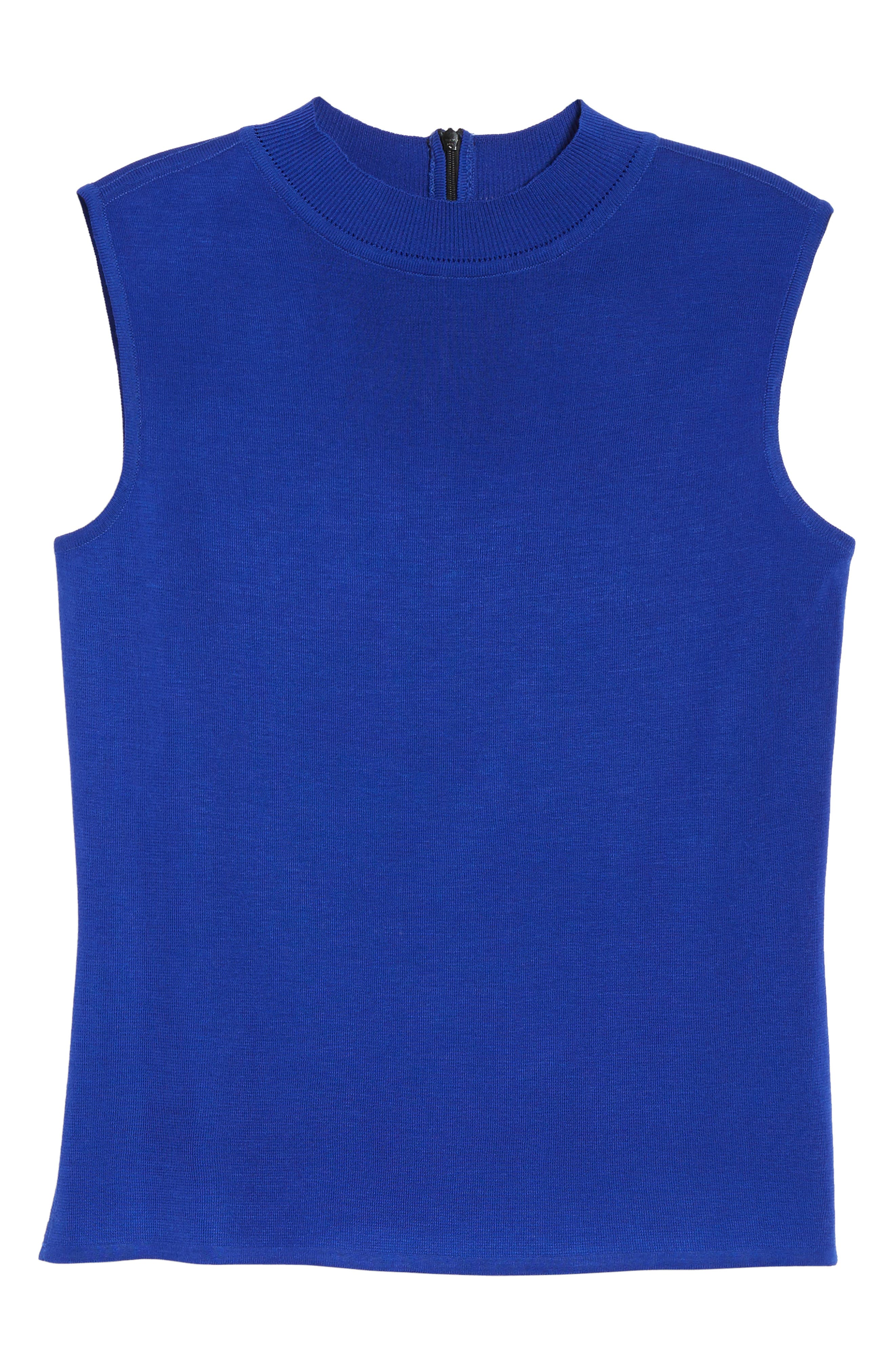 Mock Neck Knit Tank,                             Alternate thumbnail 6, color,                             Blue Flame