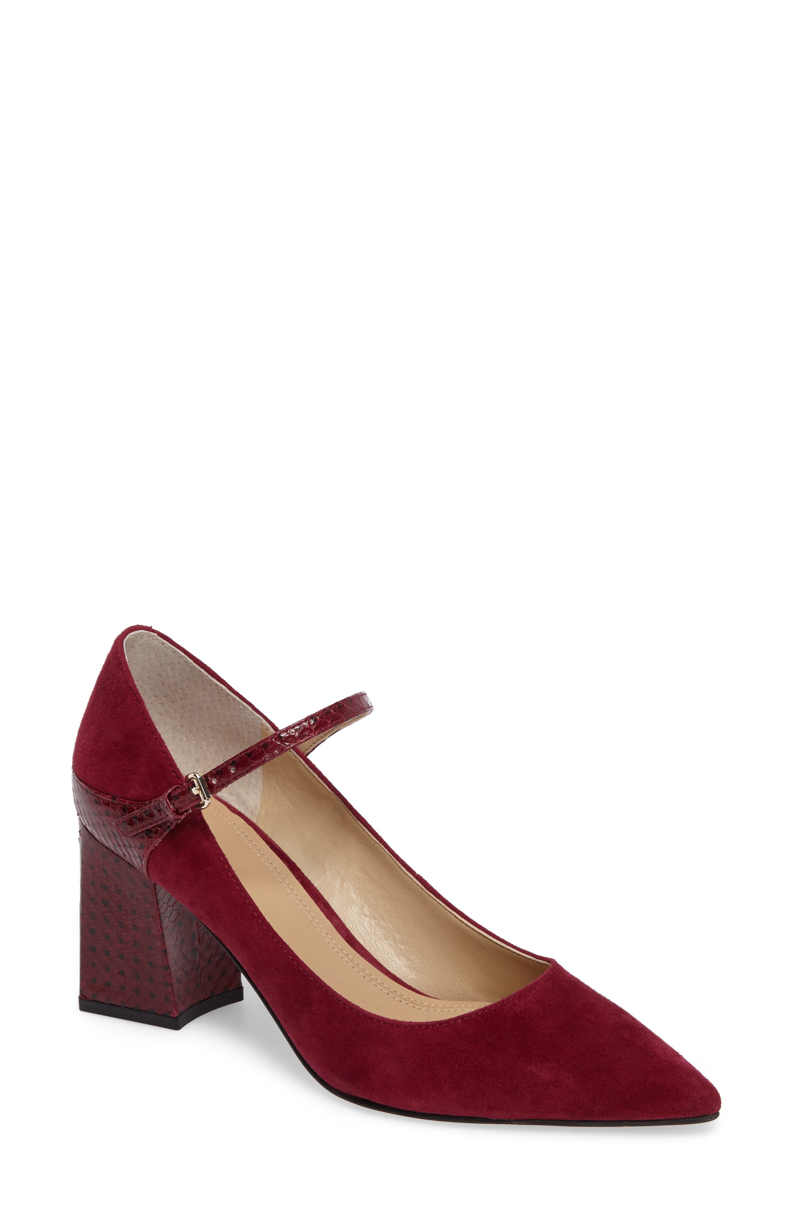 Zullys Snake Embossed Mary Jane Pump,                             Main thumbnail 1, color,                             Berry/ Berry Leather