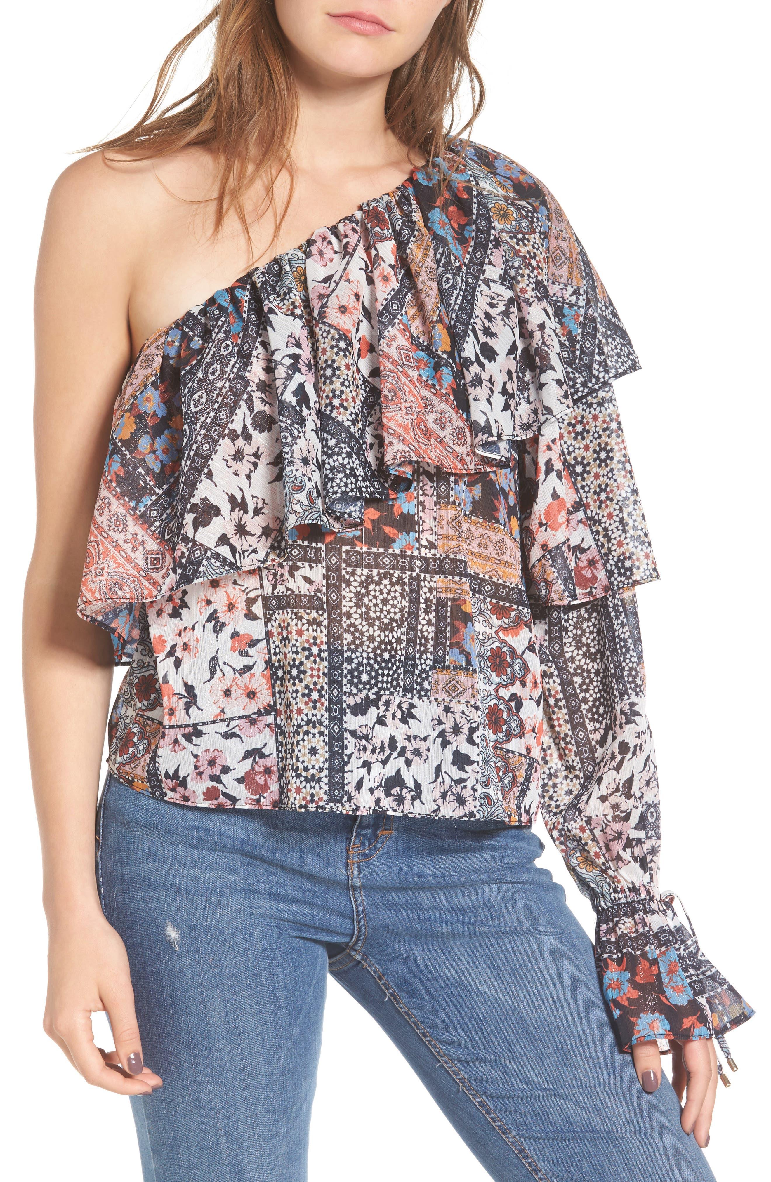 Madora One-Shoulder Blouse,                         Main,                         color, Patchwork
