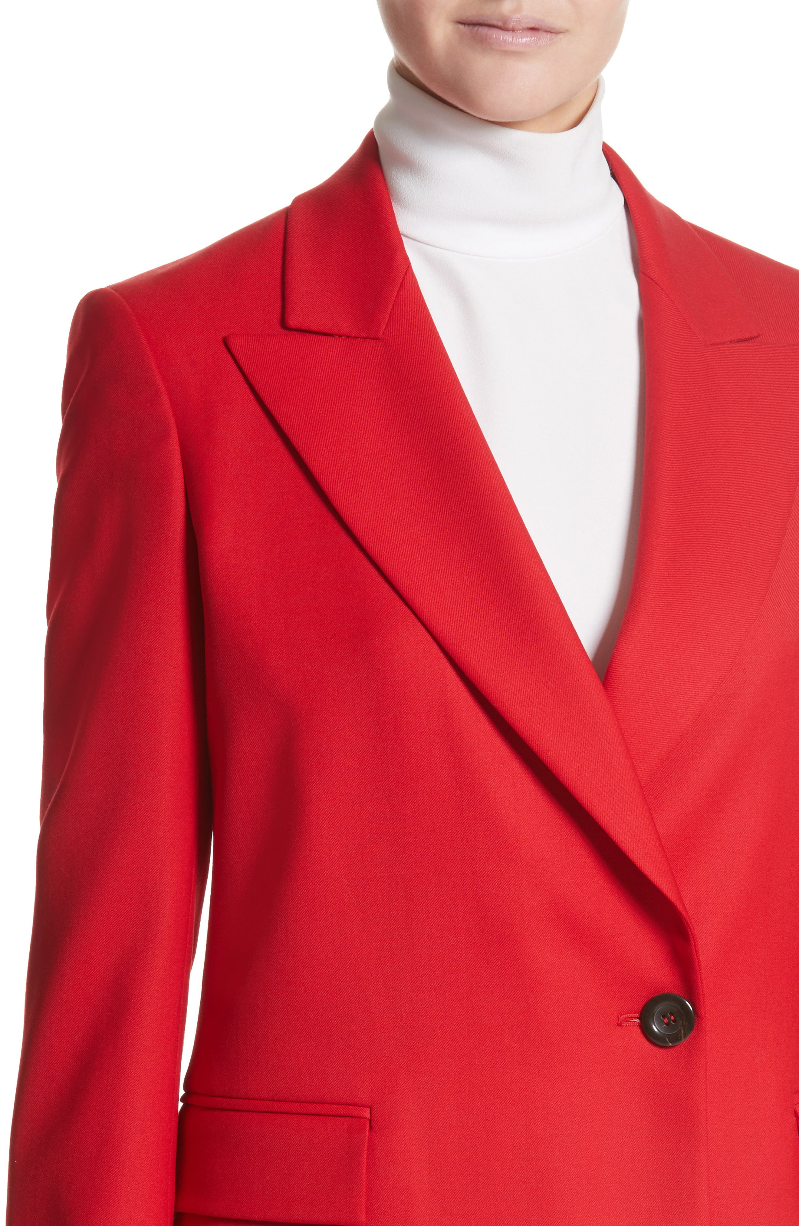 Stretch Wool Blazer,                             Alternate thumbnail 6, color,                             Red