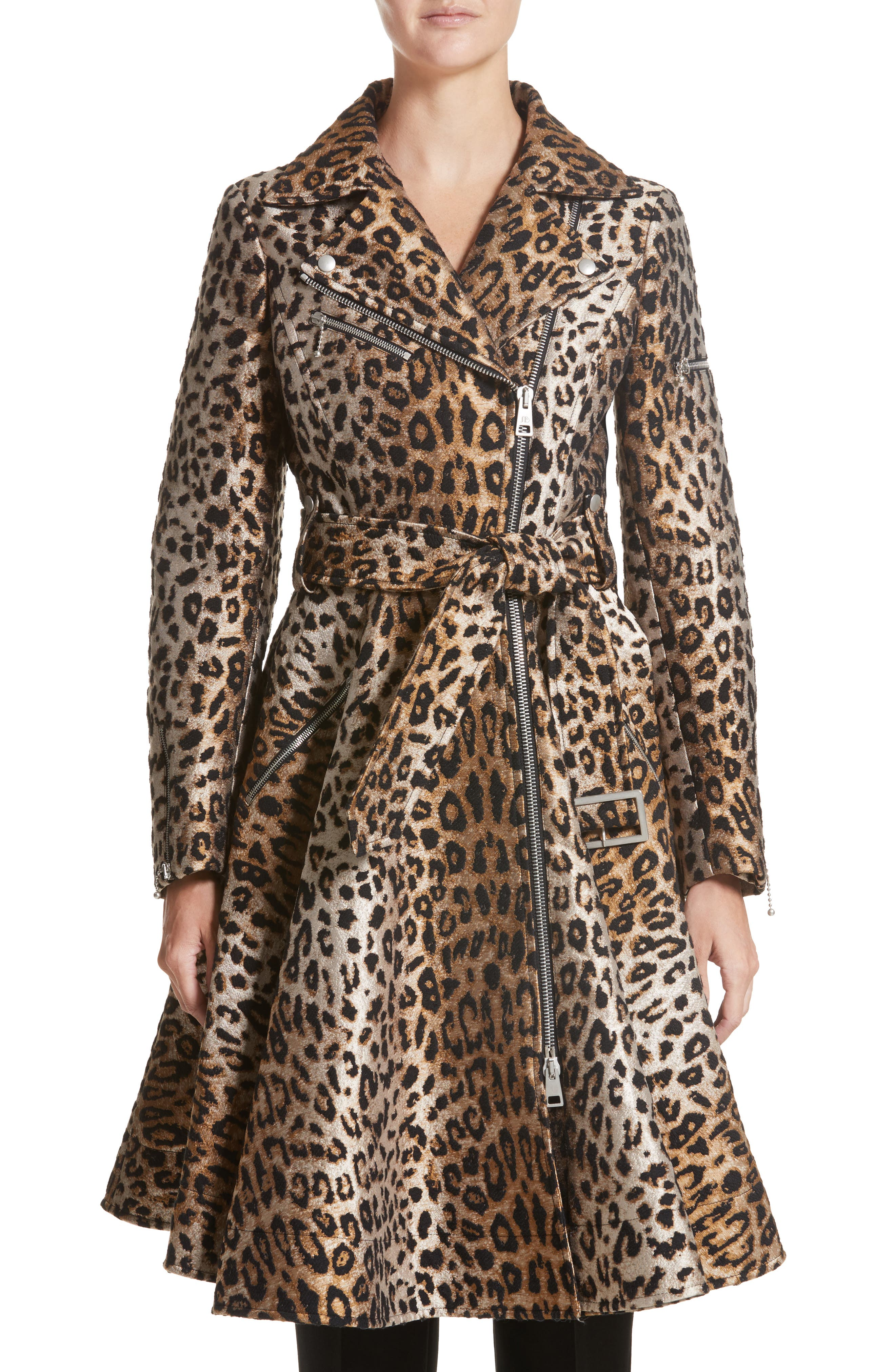 Leopard Jacquard Trench Coat,                             Main thumbnail 1, color,                             Leopard