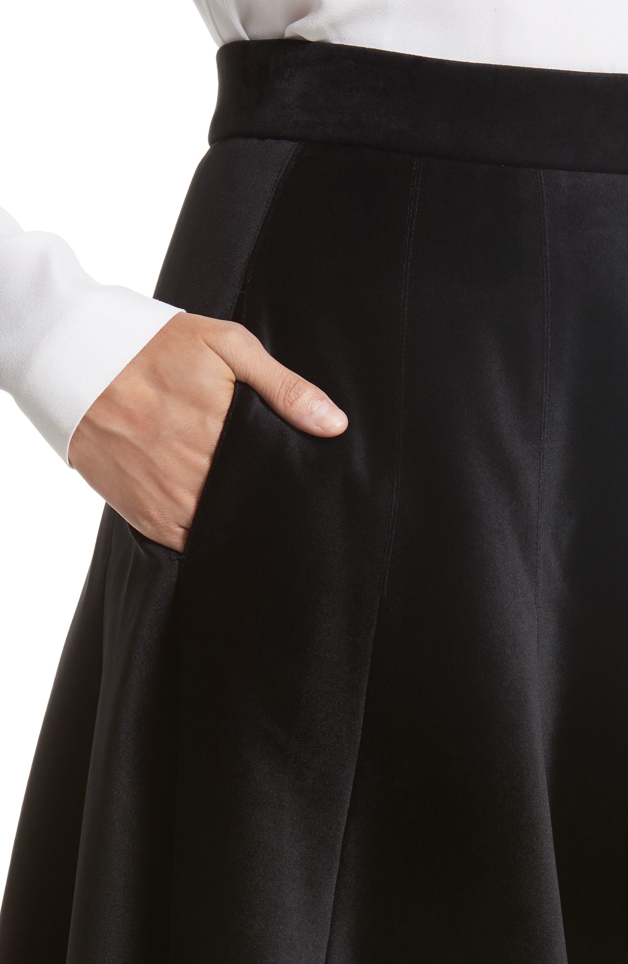 Velvet A-Line Midi Skirt,                             Alternate thumbnail 4, color,                             Black