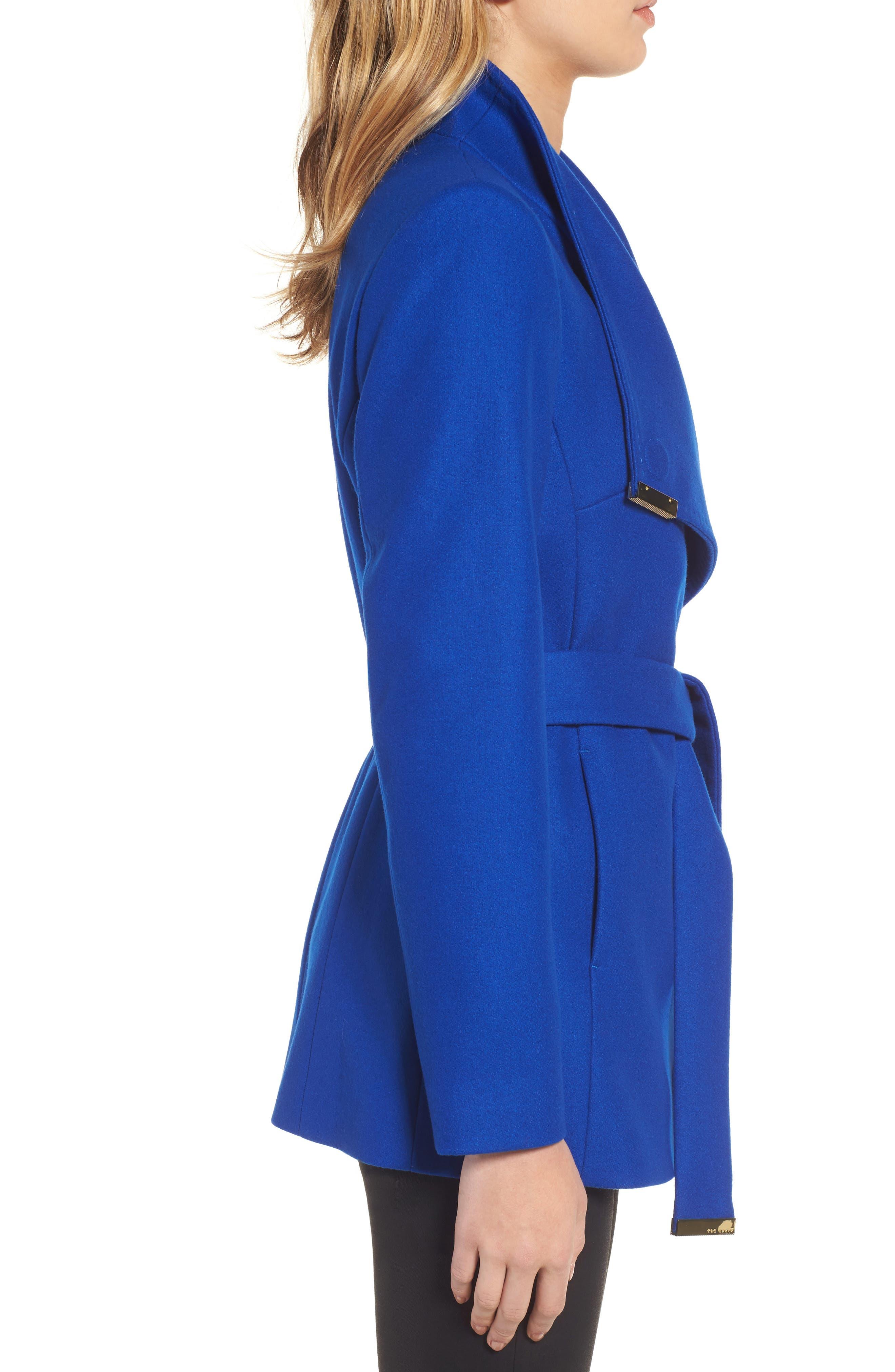 Wool Blend Short Wrap Coat,                             Alternate thumbnail 3, color,                             Bright Blue