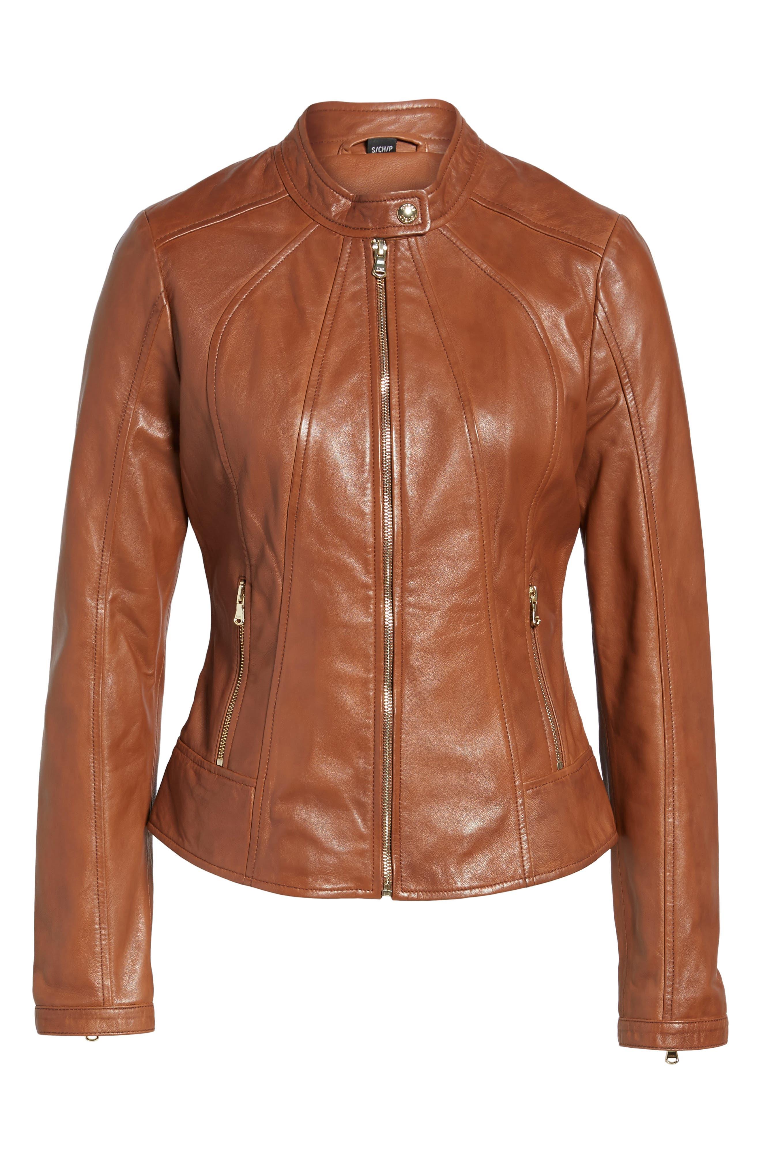 Alternate Image 6  - Guess Collarless Leather Moto Jacket