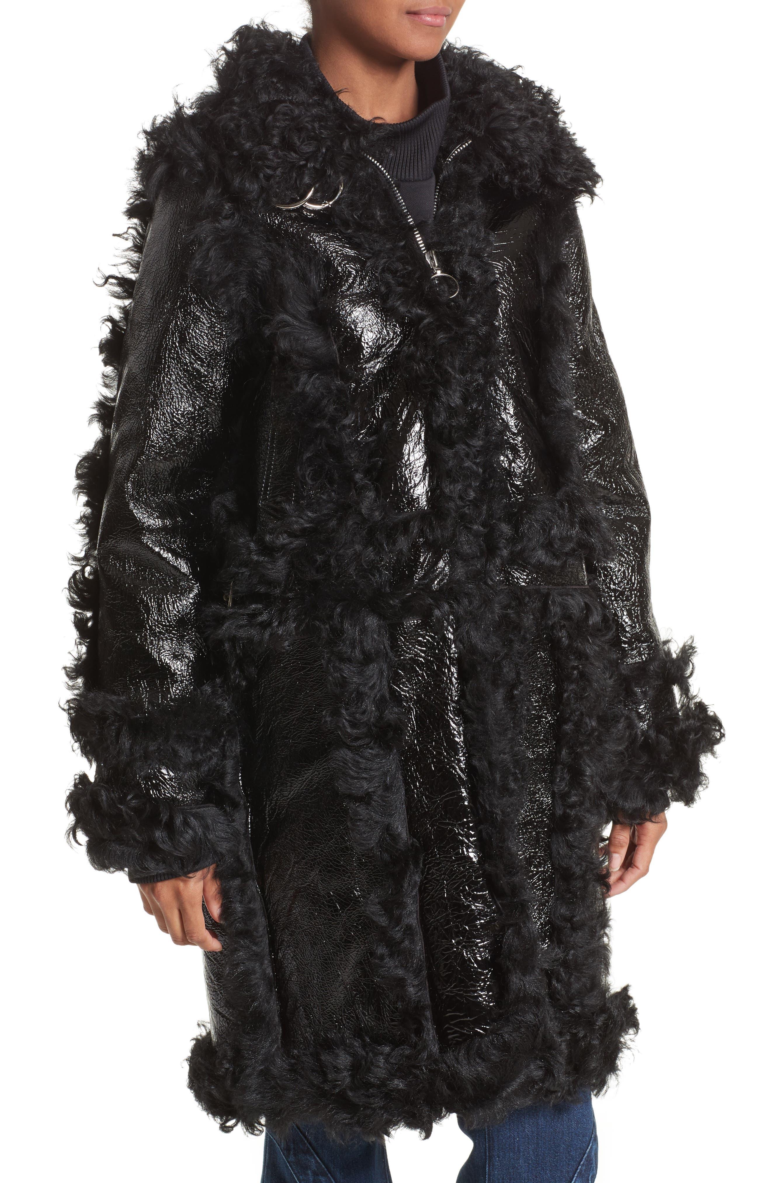 Marques'Almeida Foiled Genuine Shearling Coat,                             Alternate thumbnail 6, color,                             Black/Black