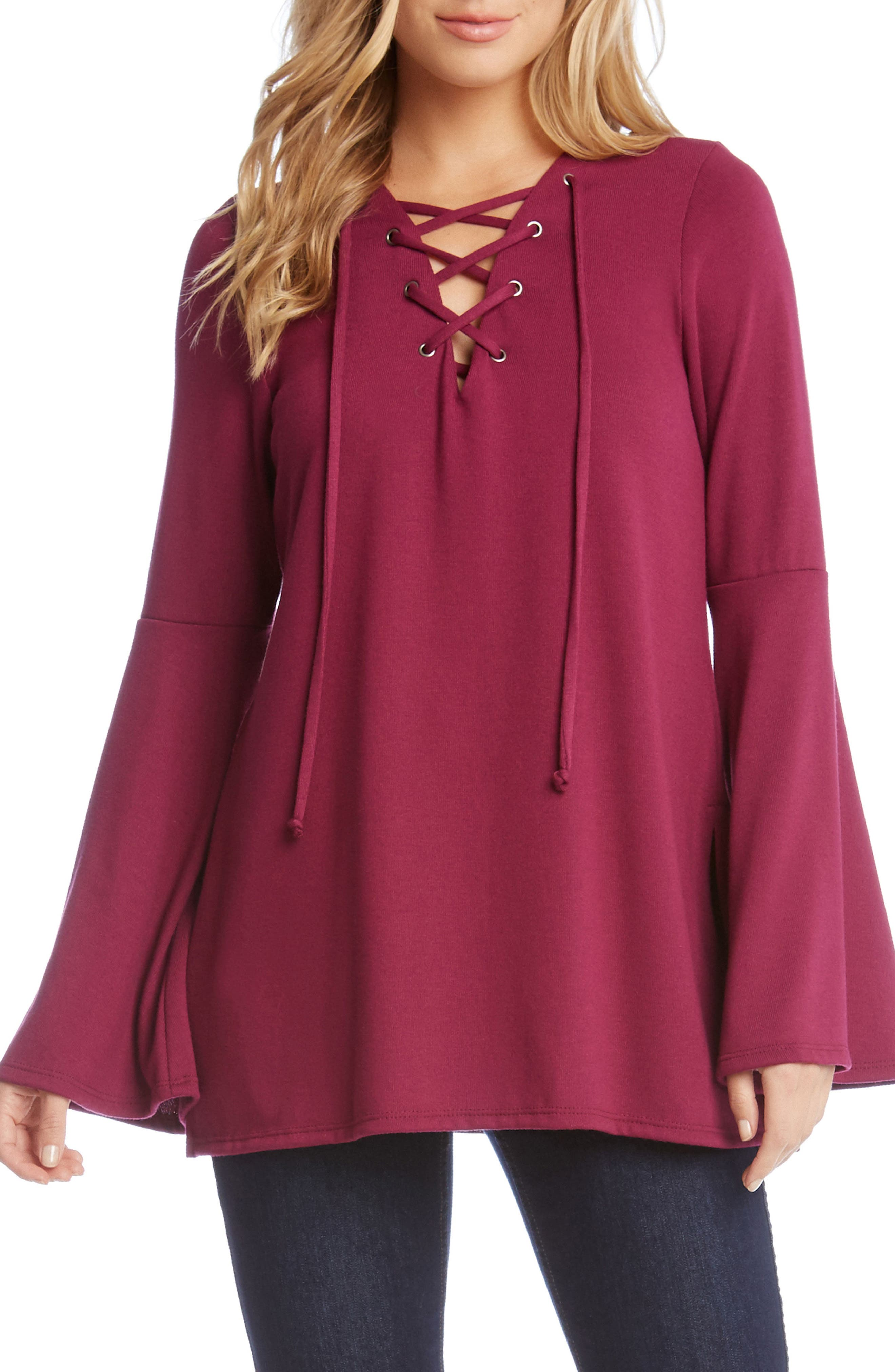 Bell Sleeve Lace-Up Top,                         Main,                         color, Berry