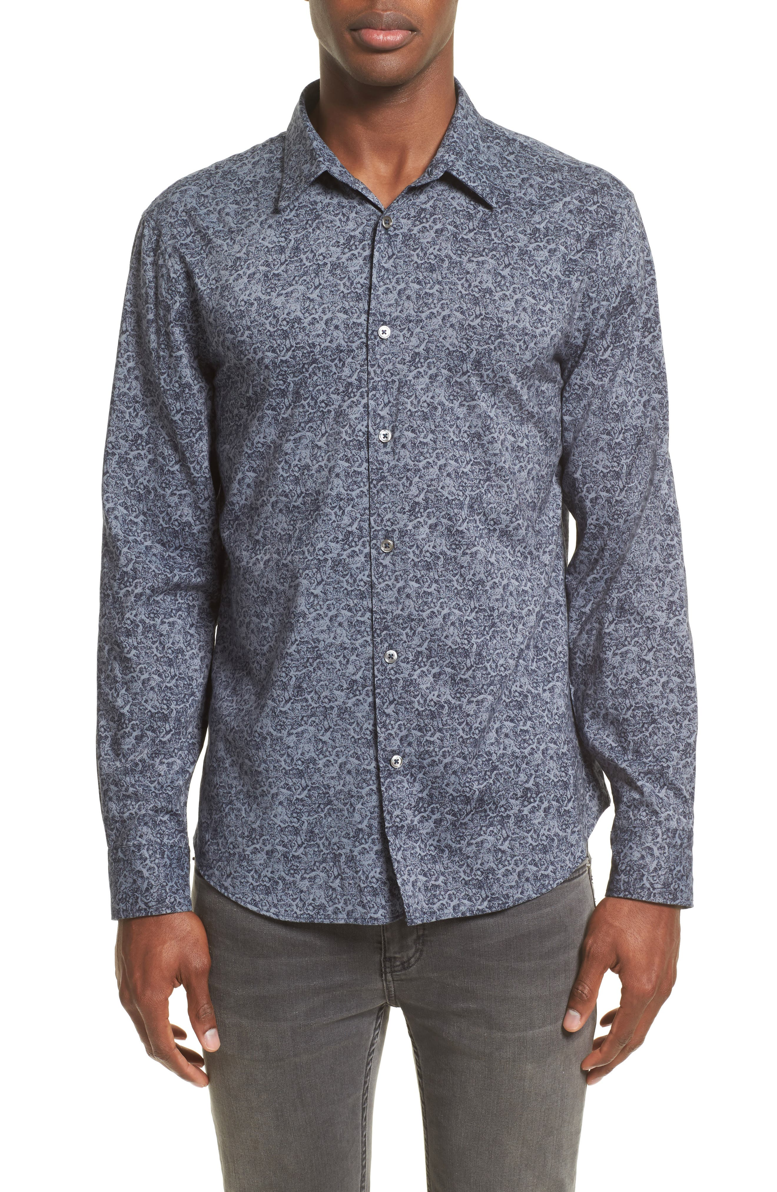Classic Fit Paisley Sport Shirt,                         Main,                         color, Dusted Blue