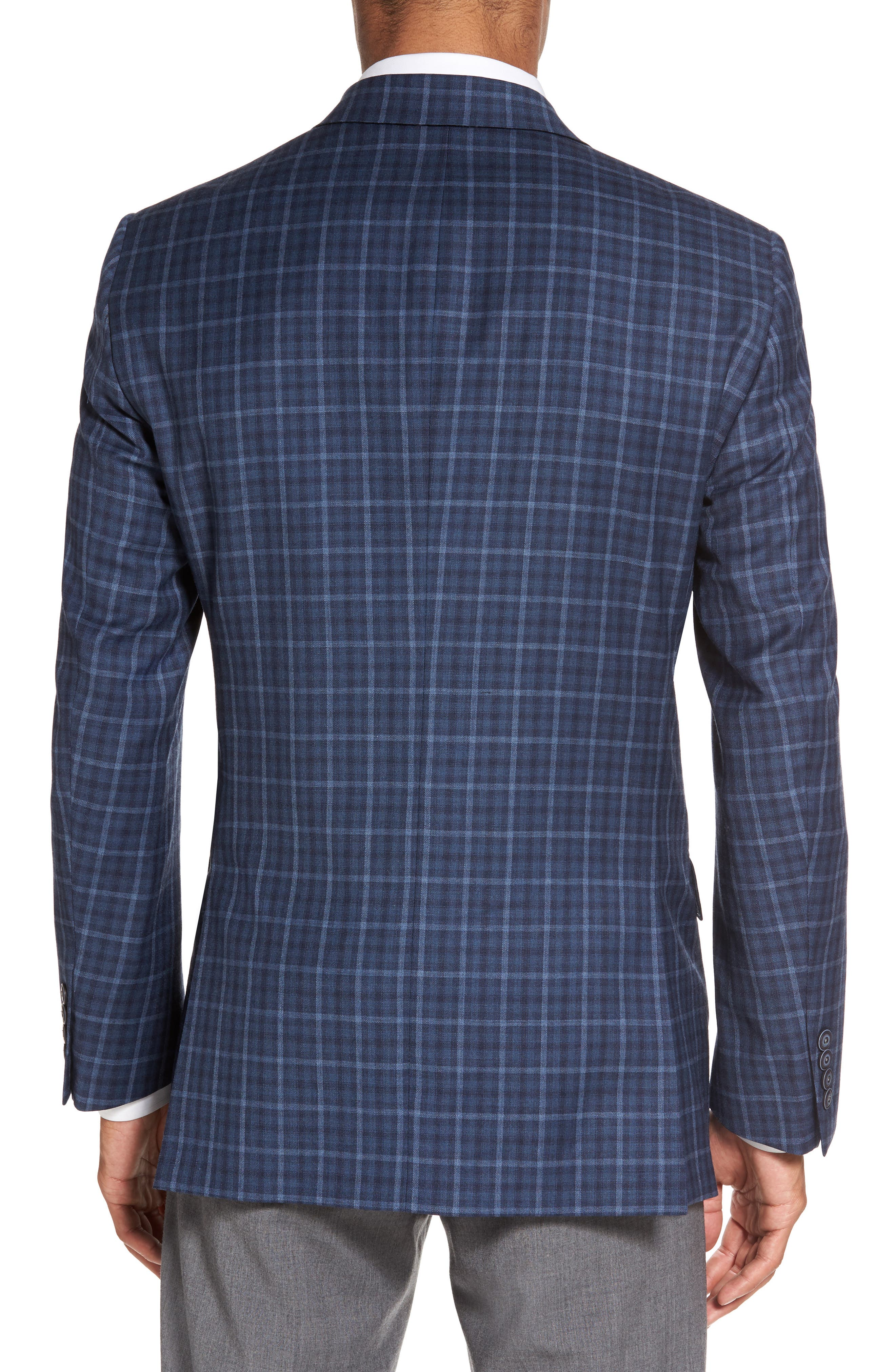 Classic Fit Check Wool Sport Coat,                             Alternate thumbnail 2, color,                             Medium Blue