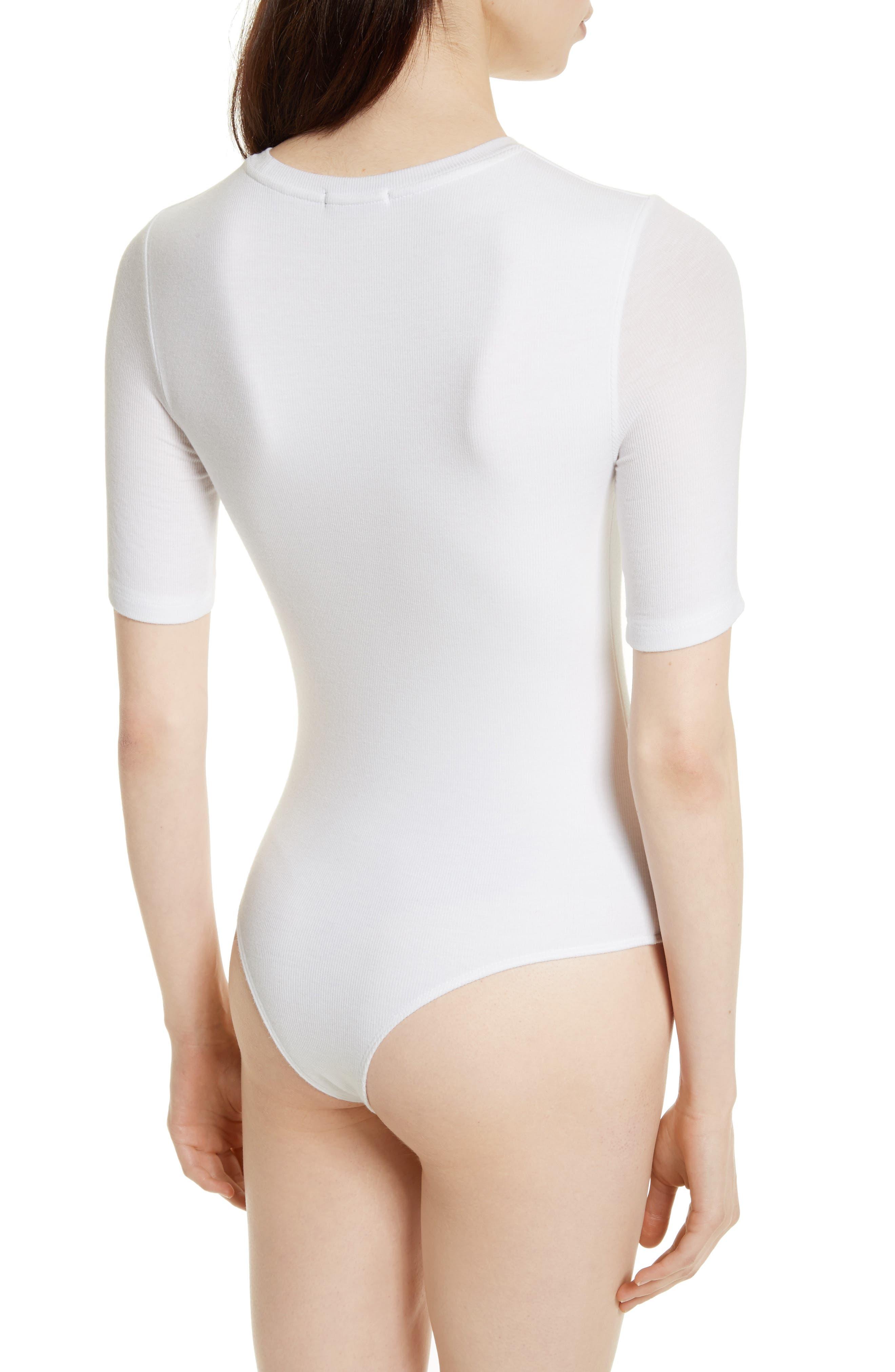 Ribbed Bodysuit,                             Alternate thumbnail 2, color,                             White