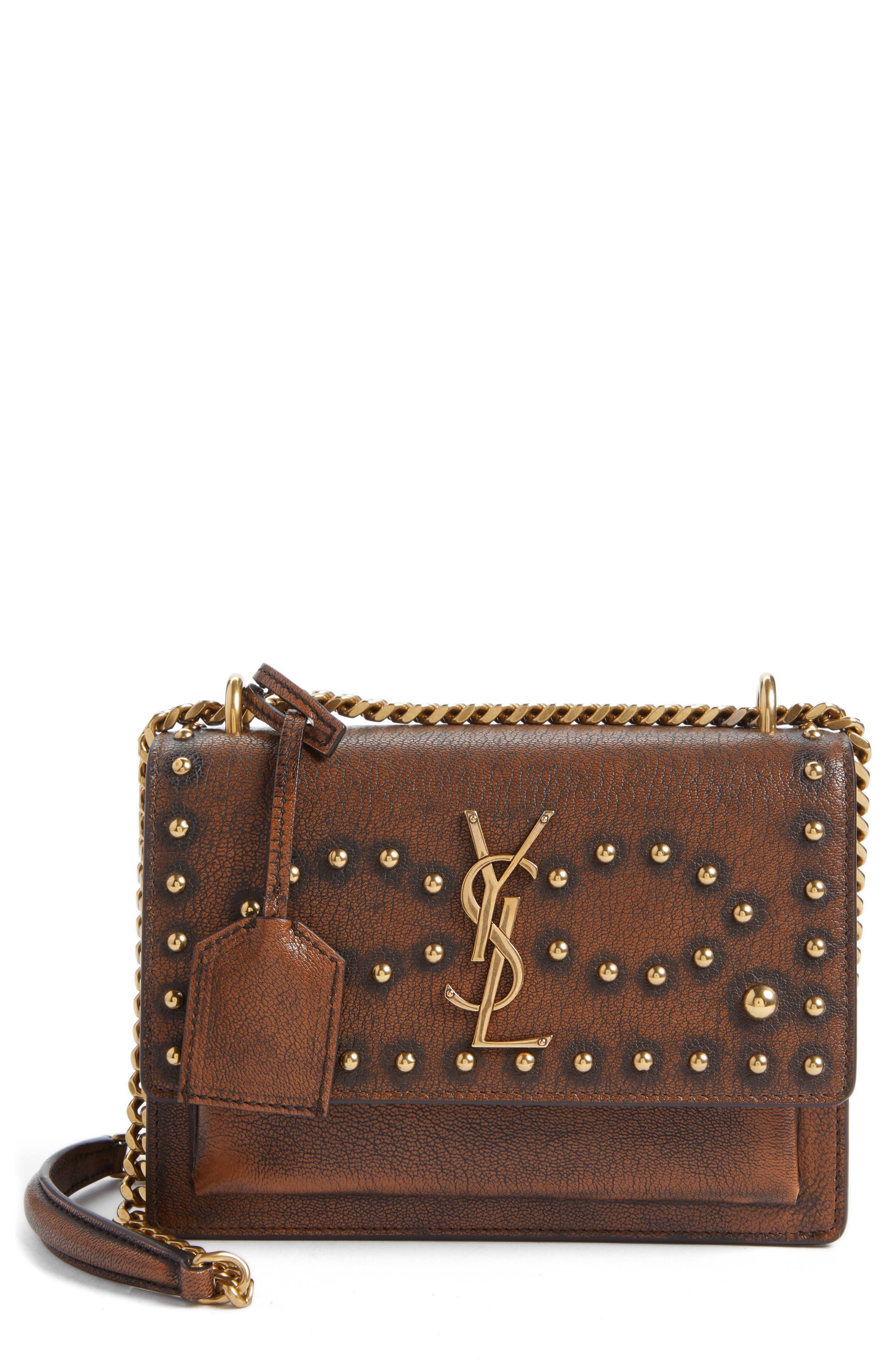 Saint Laurent Small Sunset Studded Vintage Leather Shoulder Bag