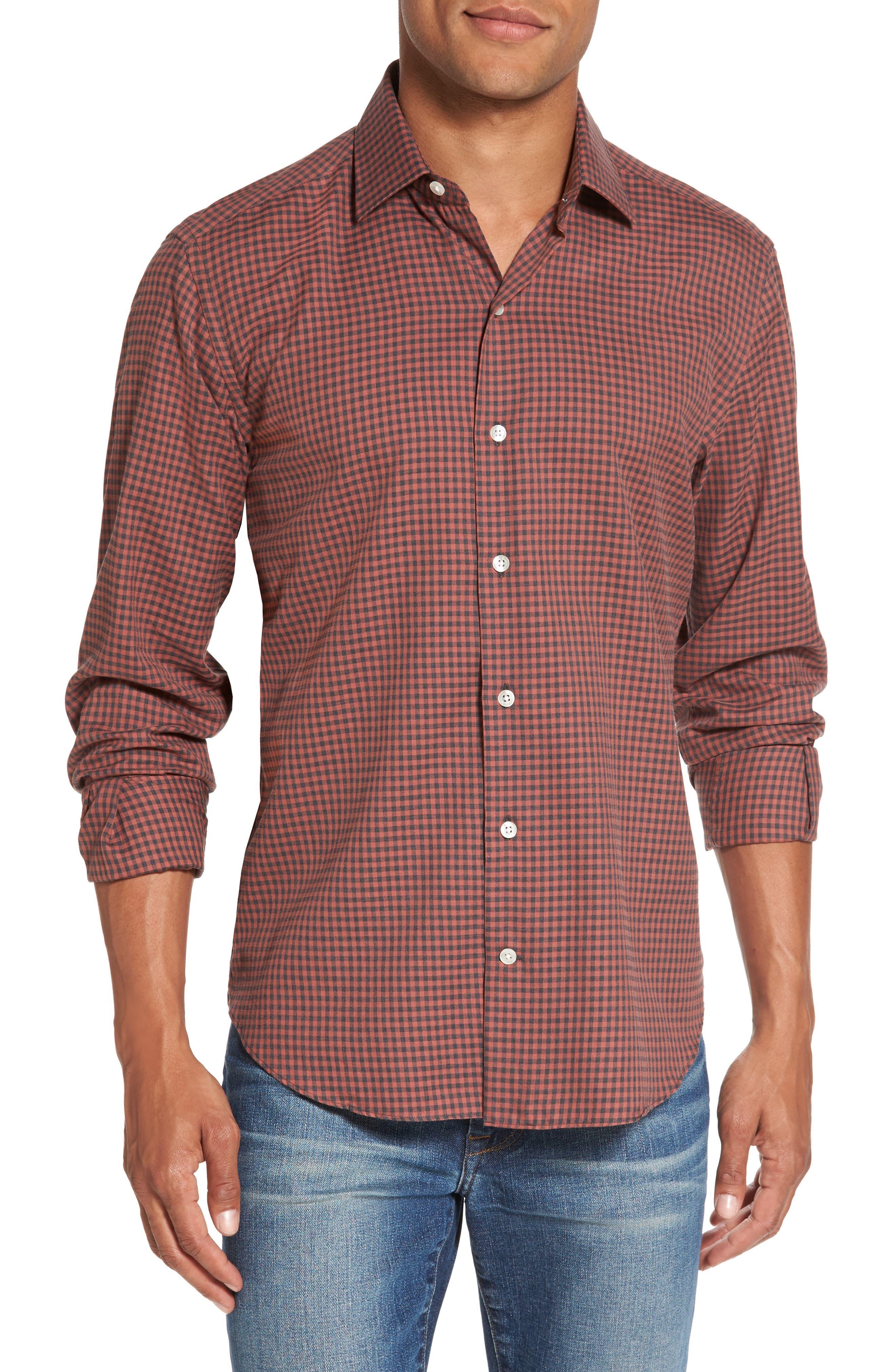 Trim Fit Gingham Sport Shirt,                         Main,                         color, Terracotta