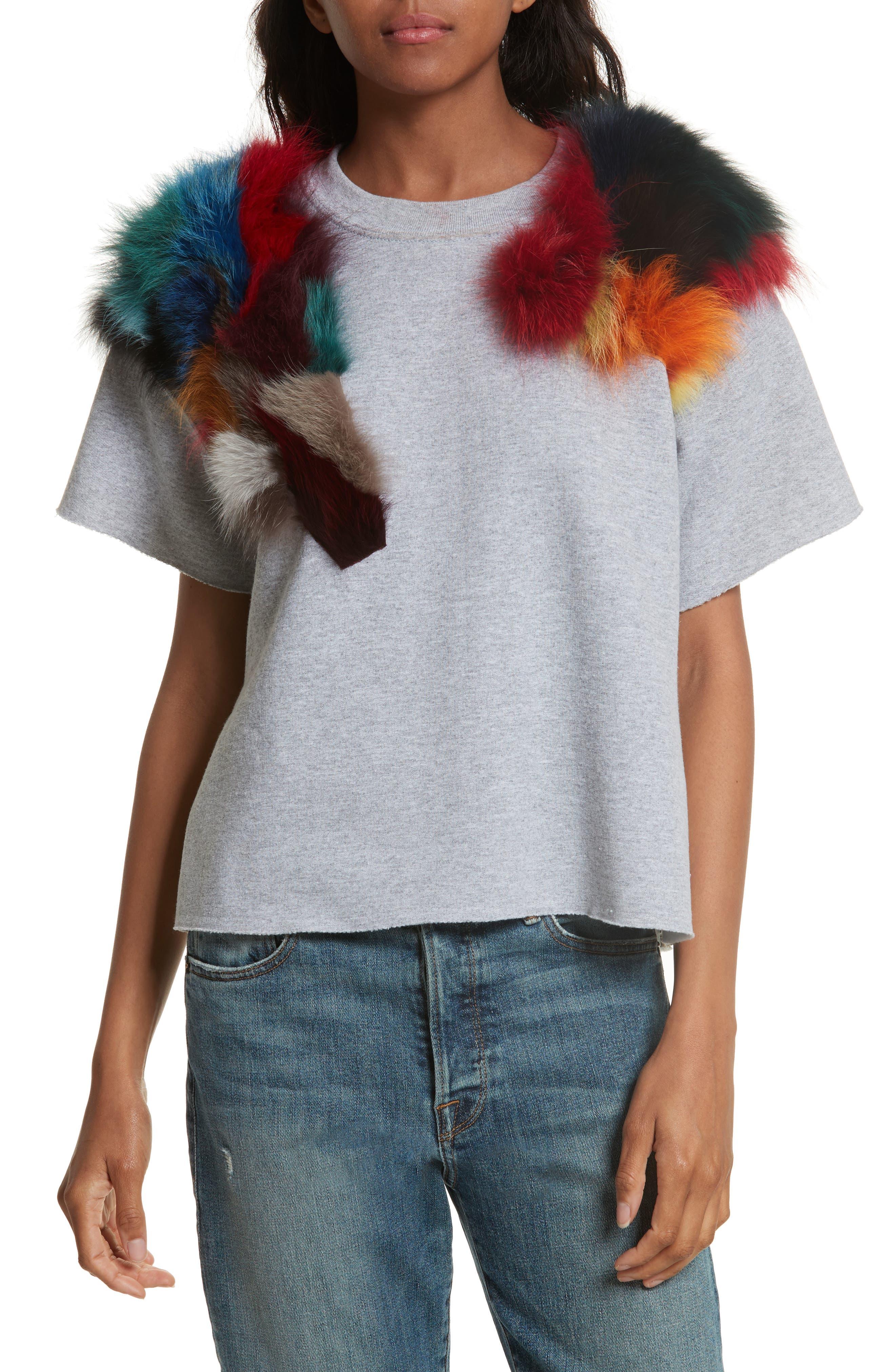 Harvey Faircloth Sweatshirt with Genuine Fox Fur Trim