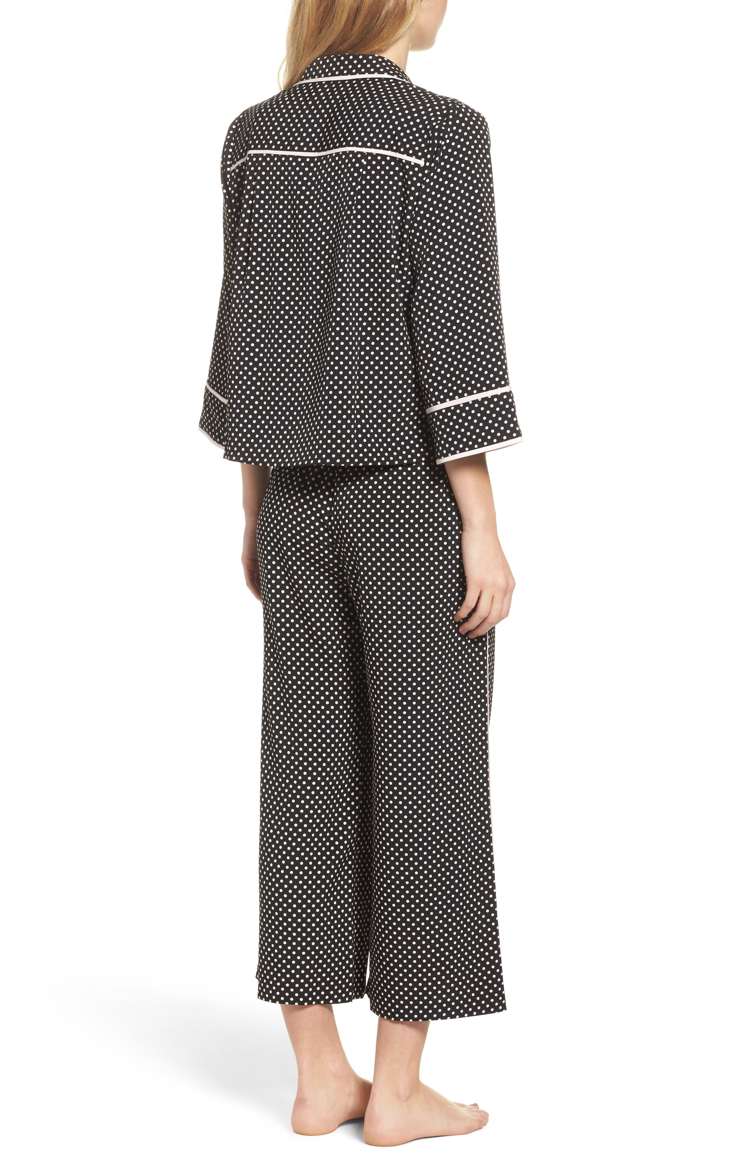 crop pajamas,                             Alternate thumbnail 2, color,                             Black