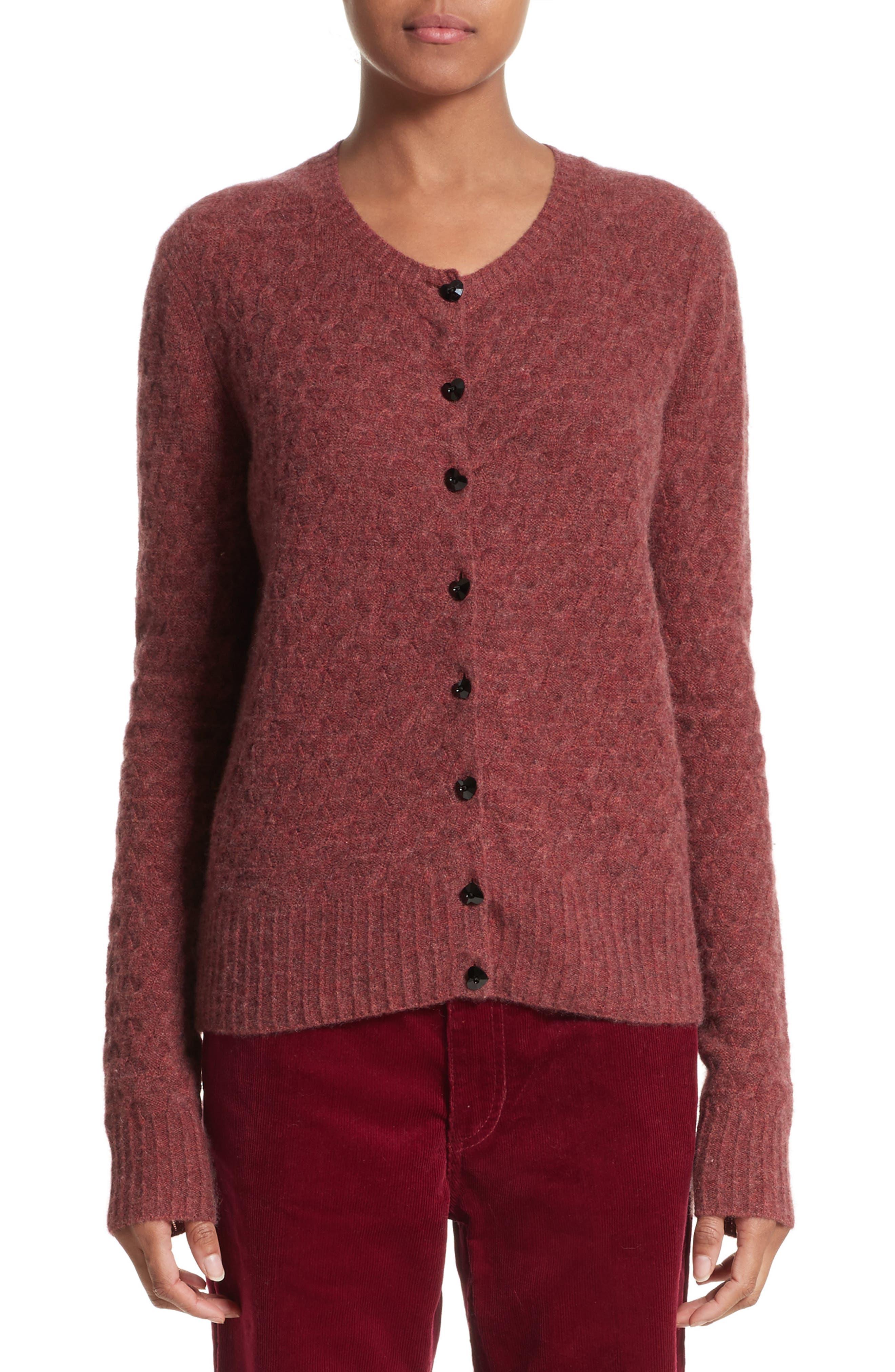 Heart Button Cashmere Cardigan,                             Main thumbnail 1, color,                             Pink