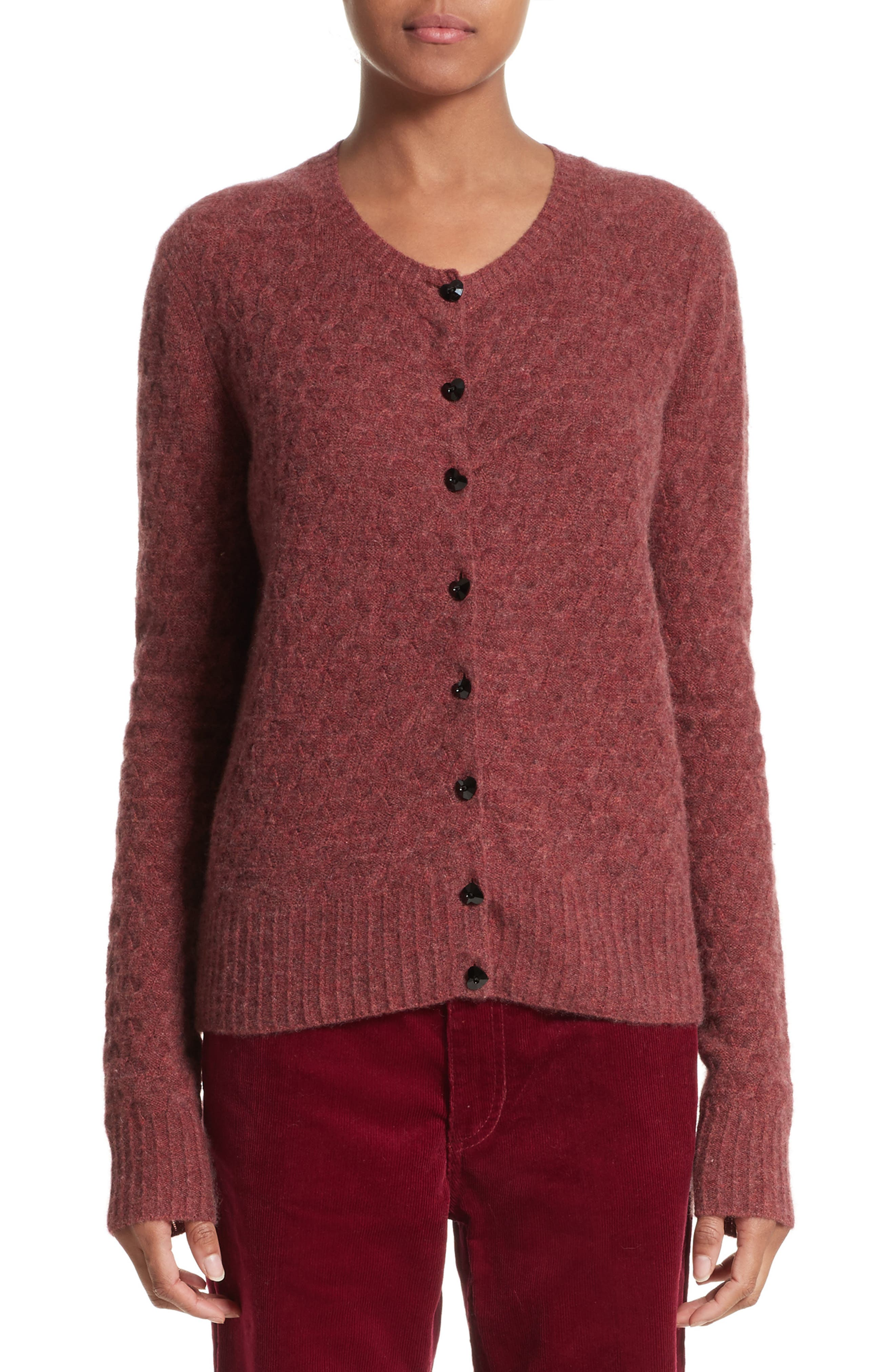 Heart Button Cashmere Cardigan,                         Main,                         color, Pink
