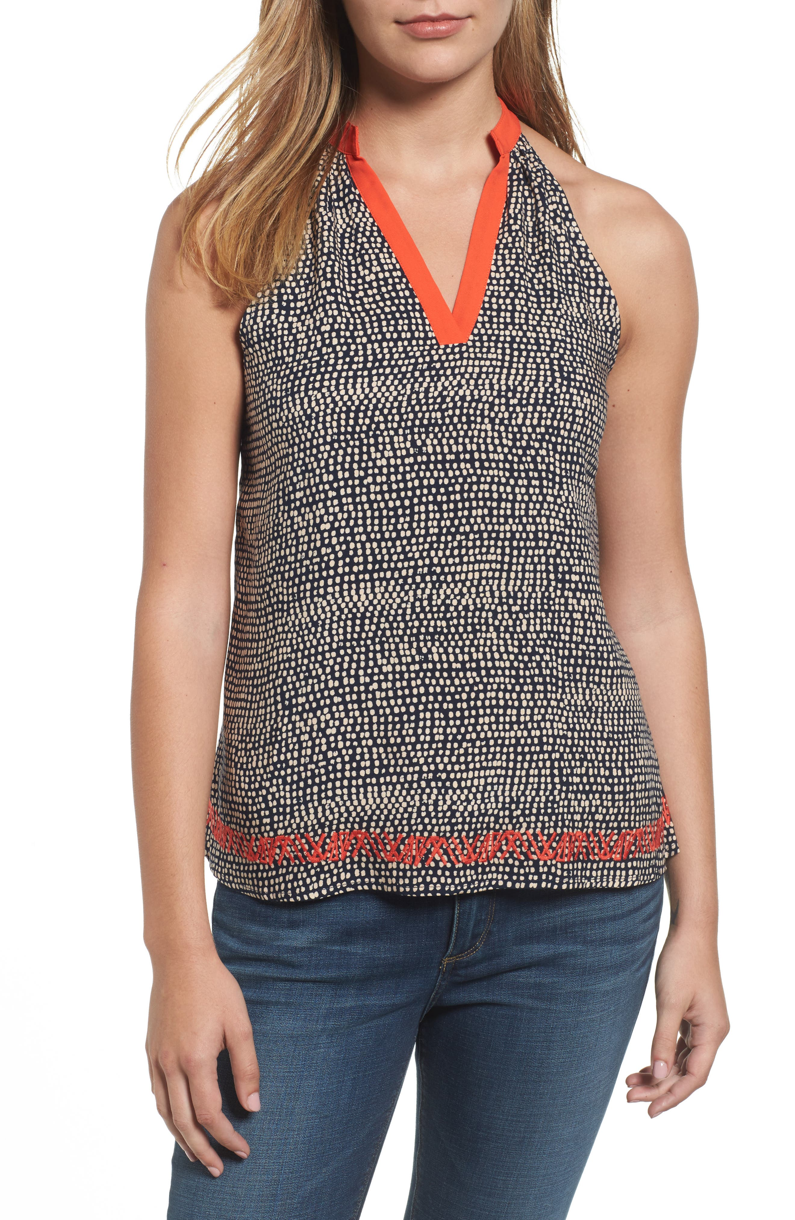 THML Embroidered Dot Print Top