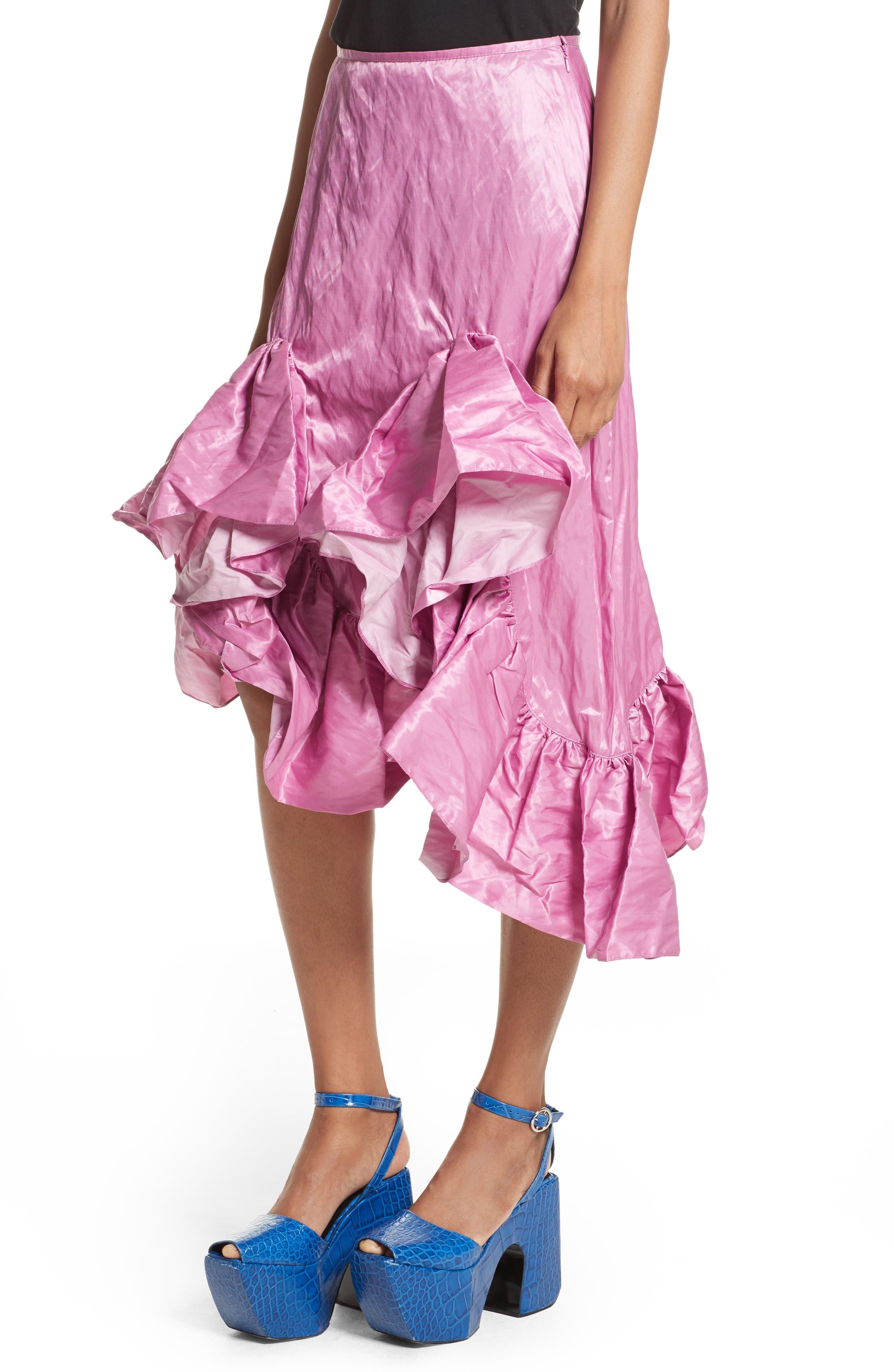 Marques'Almeida Asymmetrical Ruffle Taffeta Skirt,                             Alternate thumbnail 4, color,                             Pink
