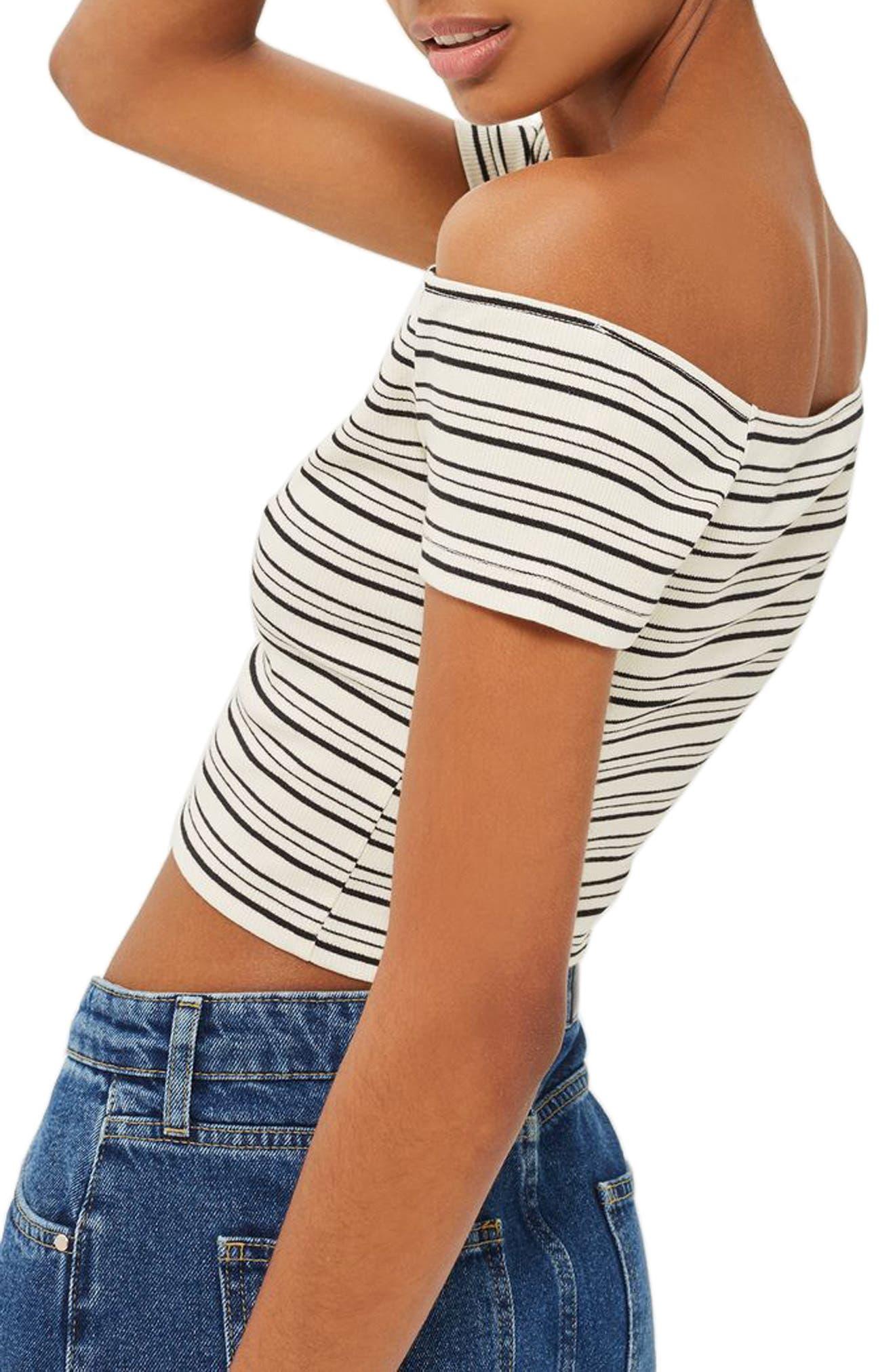 Alternate Image 2  - Topshop Stripe Off the Shoulder Crop Top (Regular & Petite)