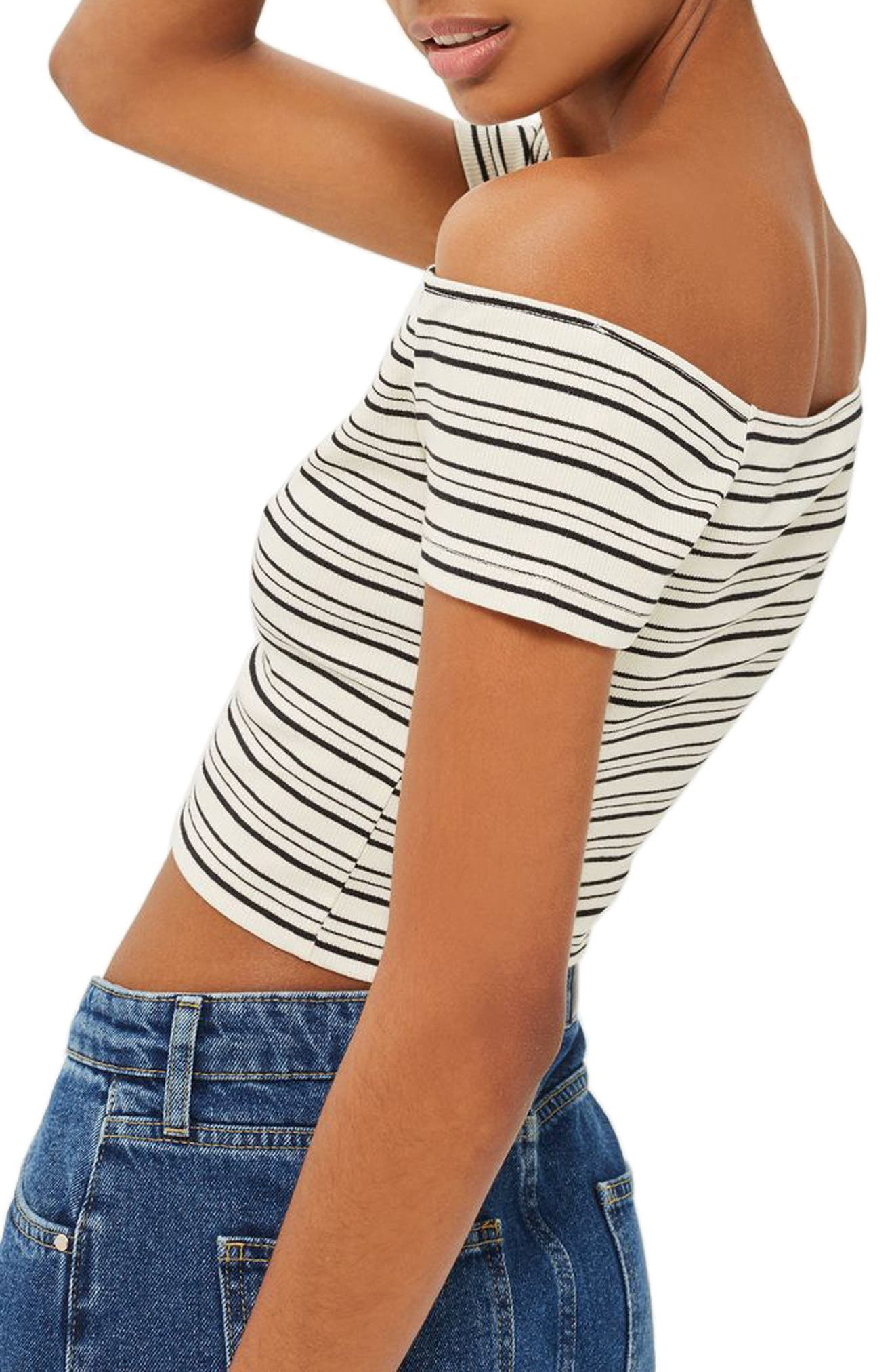 Stripe Off the Shoulder Crop Top,                             Alternate thumbnail 2, color,                             Black Multi