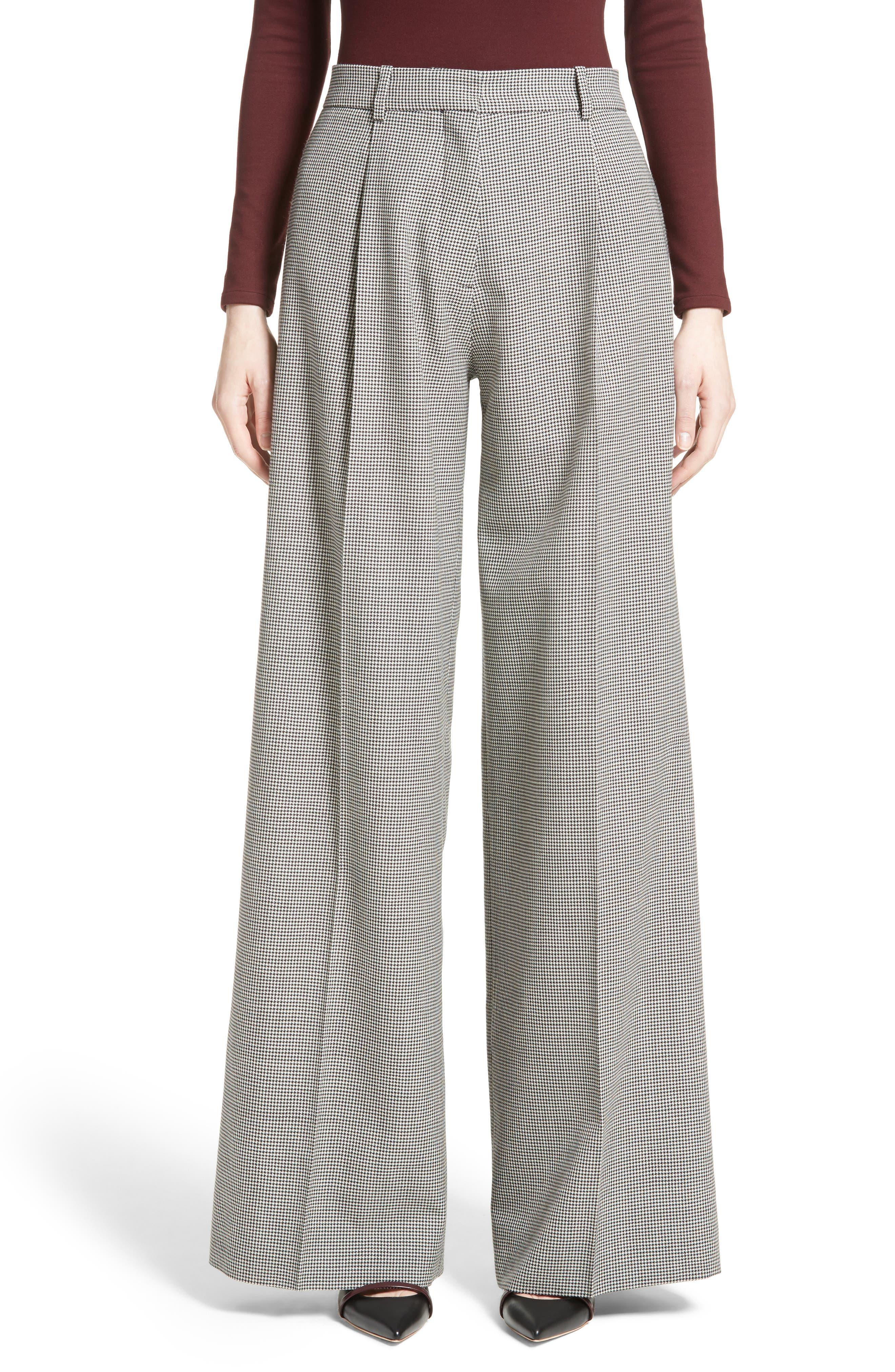 Victoria Beckham Houndstooth Wool Wide Leg Pants