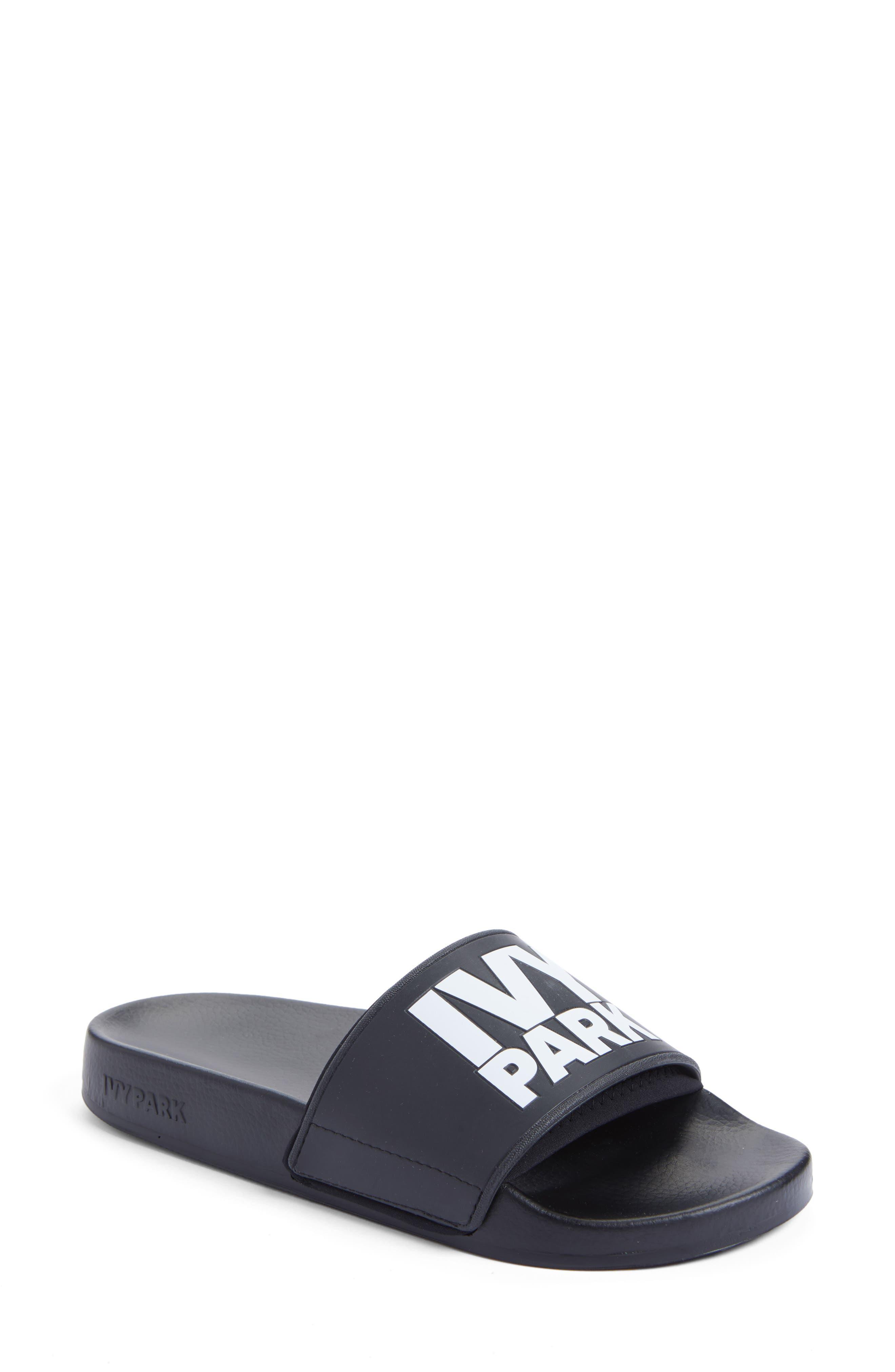 Neoprene Lined Logo Slide Sandal,                             Main thumbnail 1, color,                             Black
