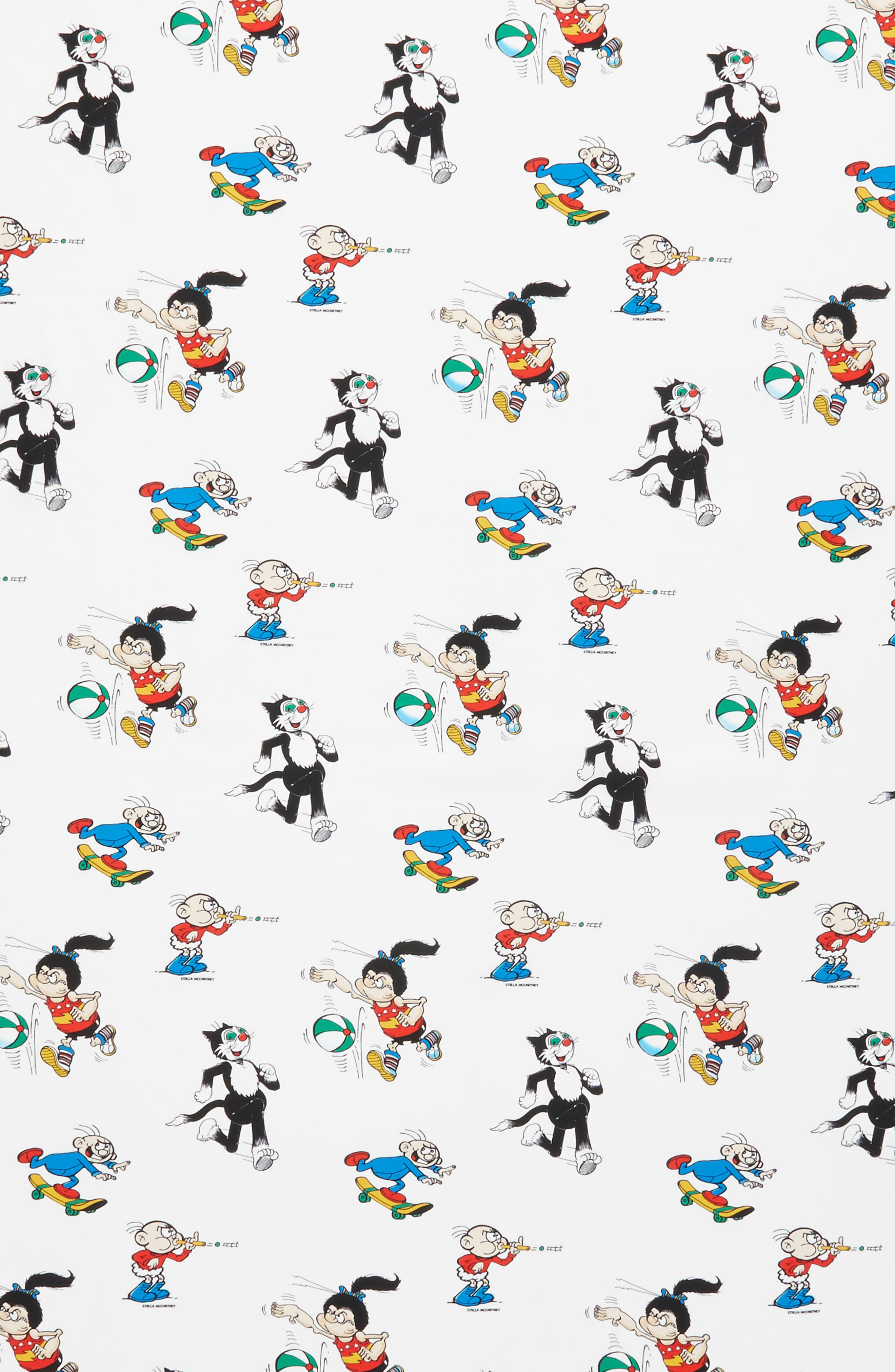 Cartoon Graphic Silk Scarf,                             Alternate thumbnail 4, color,                             White Multi